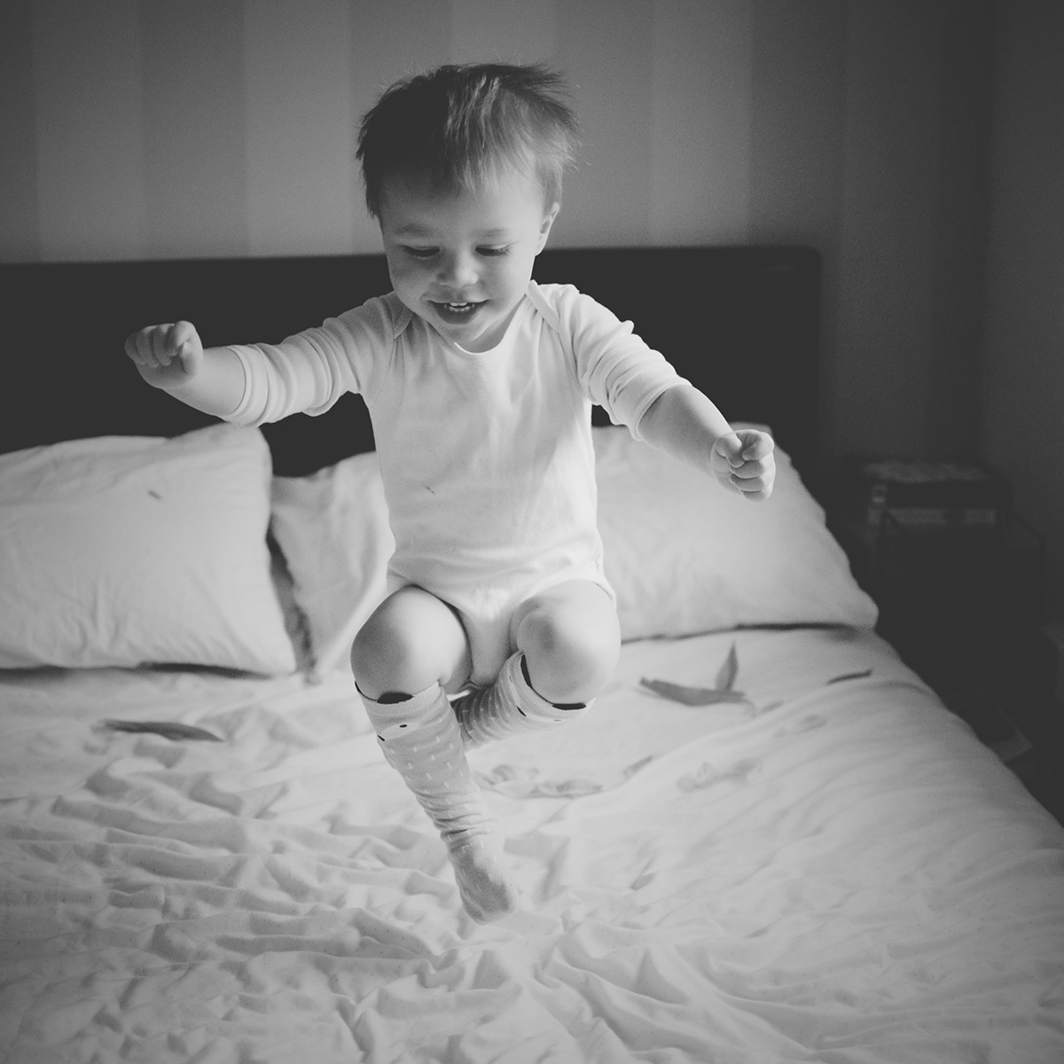 Our month in insta-snaps; April 2016 - Toddler jumping on bed in the air, action shot taken with Nikon D3300