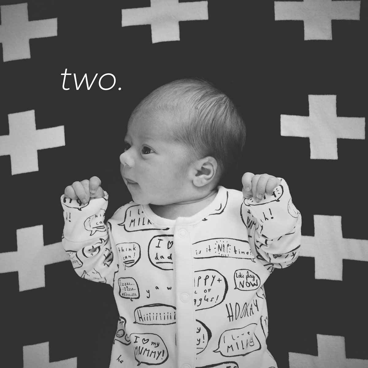 Our month in insta-snaps; August 2016 - New baby boy at two weeks old, flatlay on monochrome cross blanket
