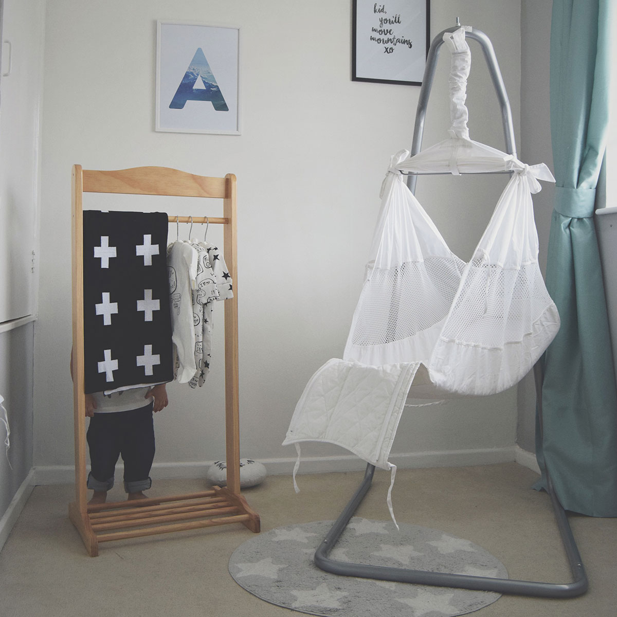 Our month in insta-snaps; June 2016 - White Poco Baby hammock in monochrome nursery for newborn baby with big brother and Next onesies
