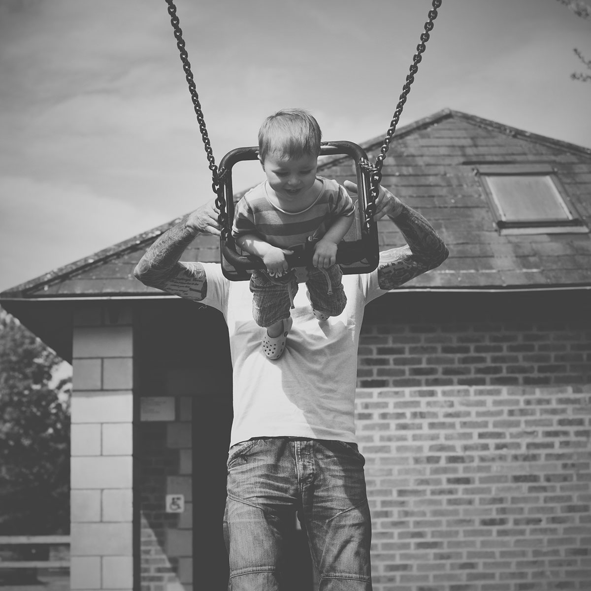 Our month in insta-snaps; May 2016 - Grandad pushing toddler grandson on swing at Stratford-upon-Avon butterfly park