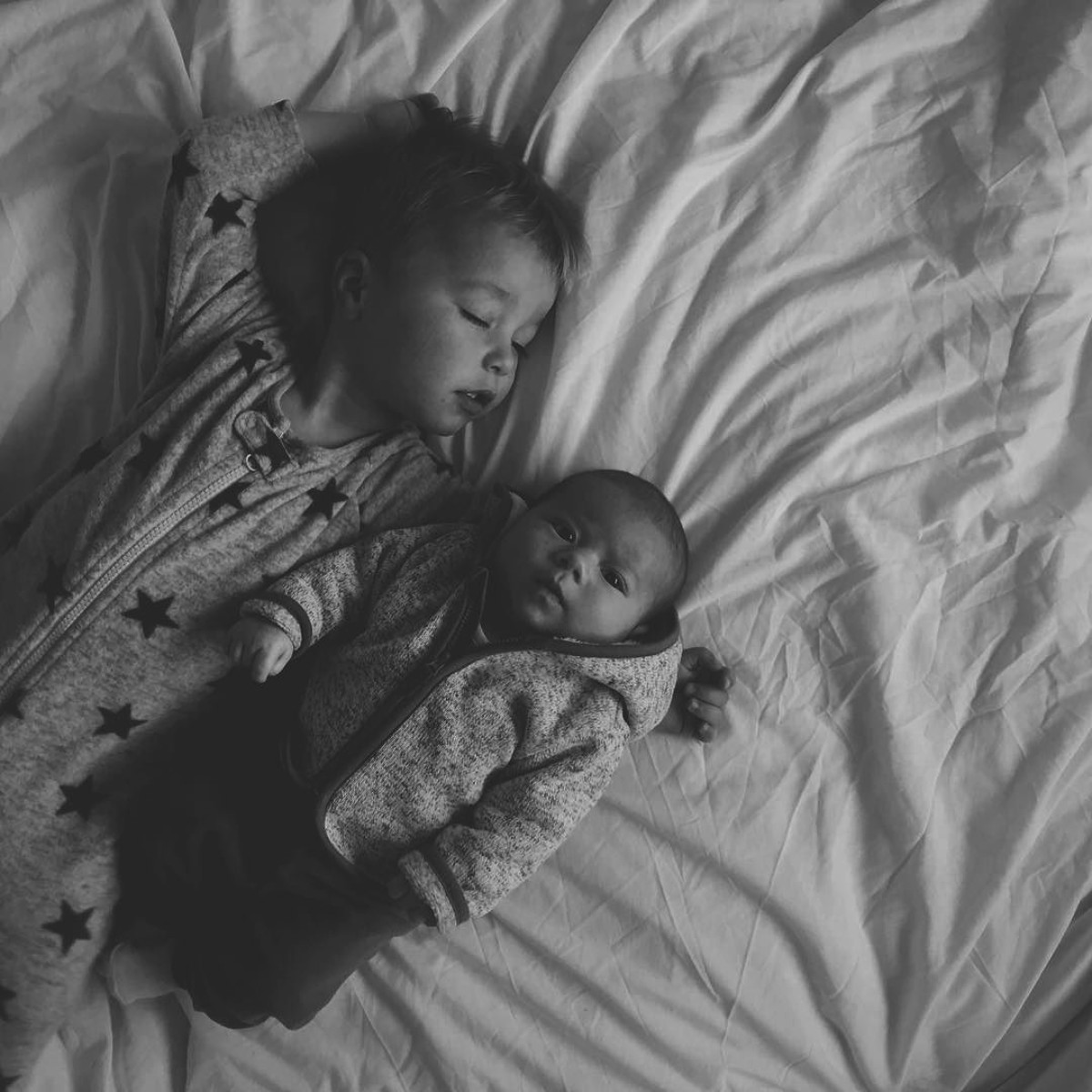 Our month in insta-snaps; October 2016 - Sleeping toddler with arm around newborn baby brother