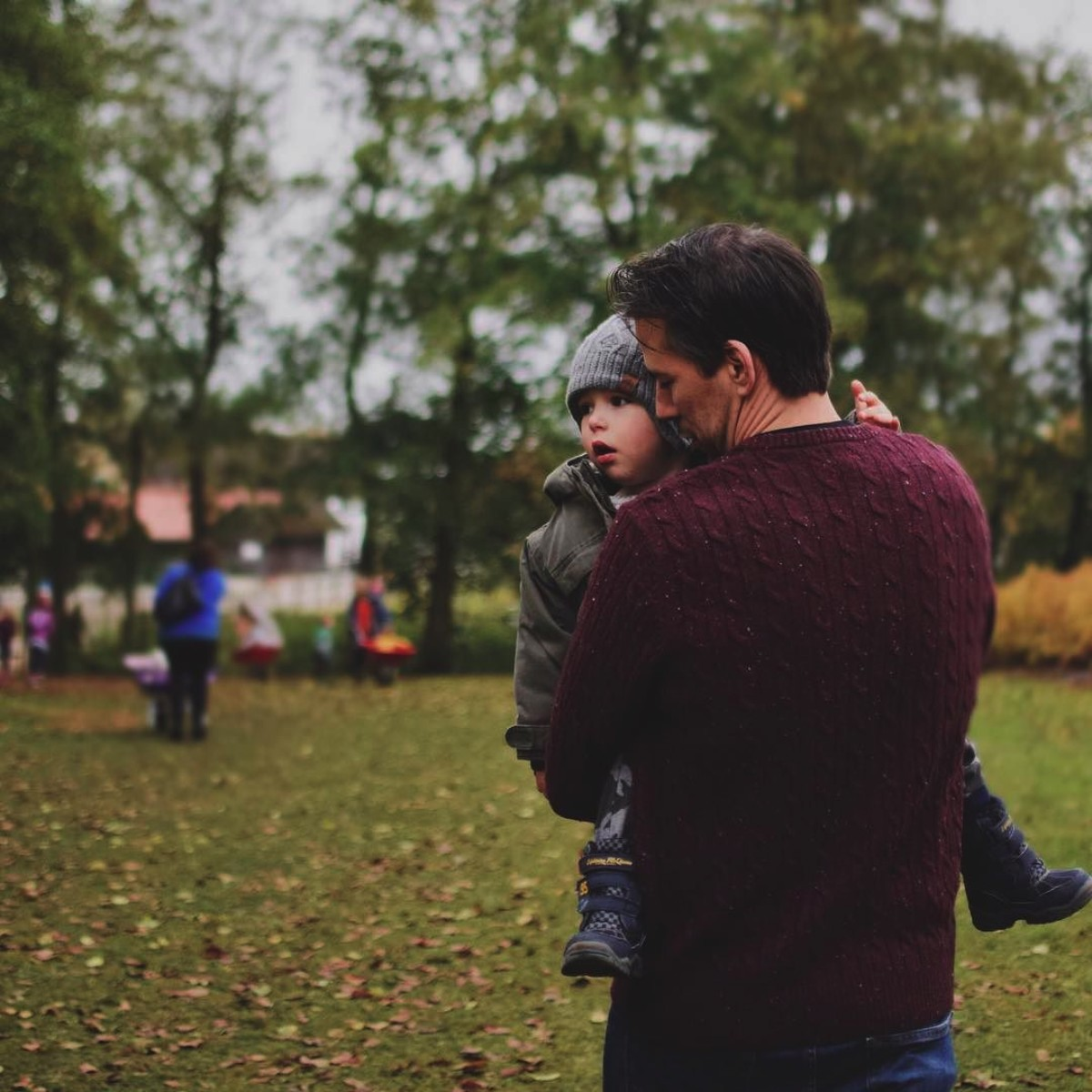 Our month in insta-snaps; October 2016 - Father carrying toddler son in Autumn setting at the pumpkin patch