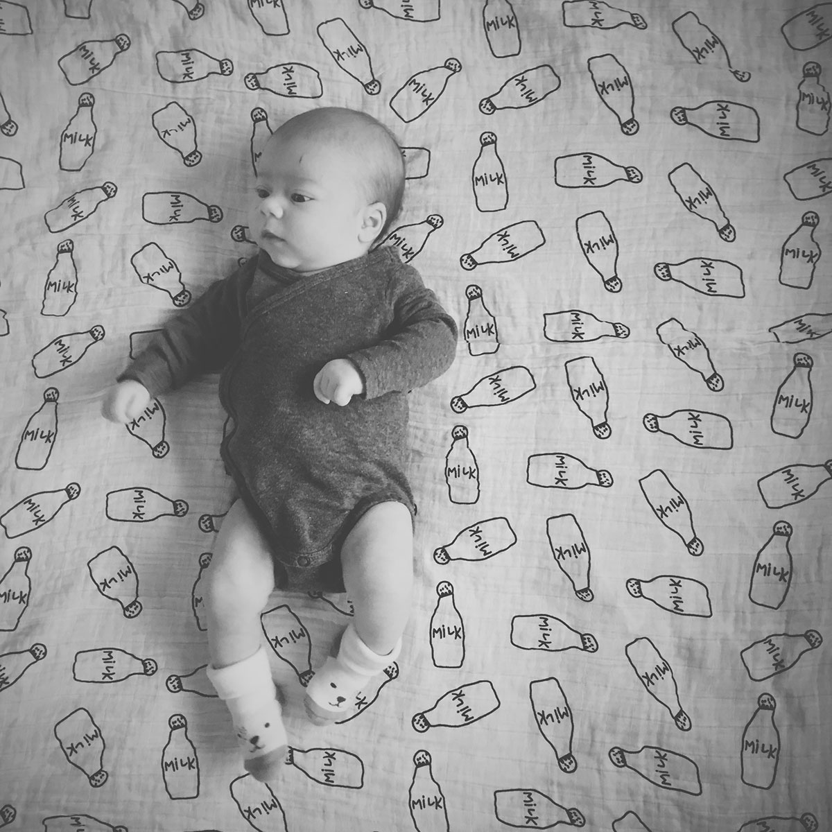 Our month in insta-snaps; September 2016 - Cute newborn baby boy on milk musling blanket