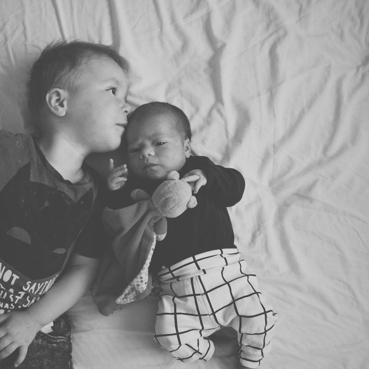 Our month in insta-snaps; September 2016 - Toddler boy and his newborn baby brother cuddling