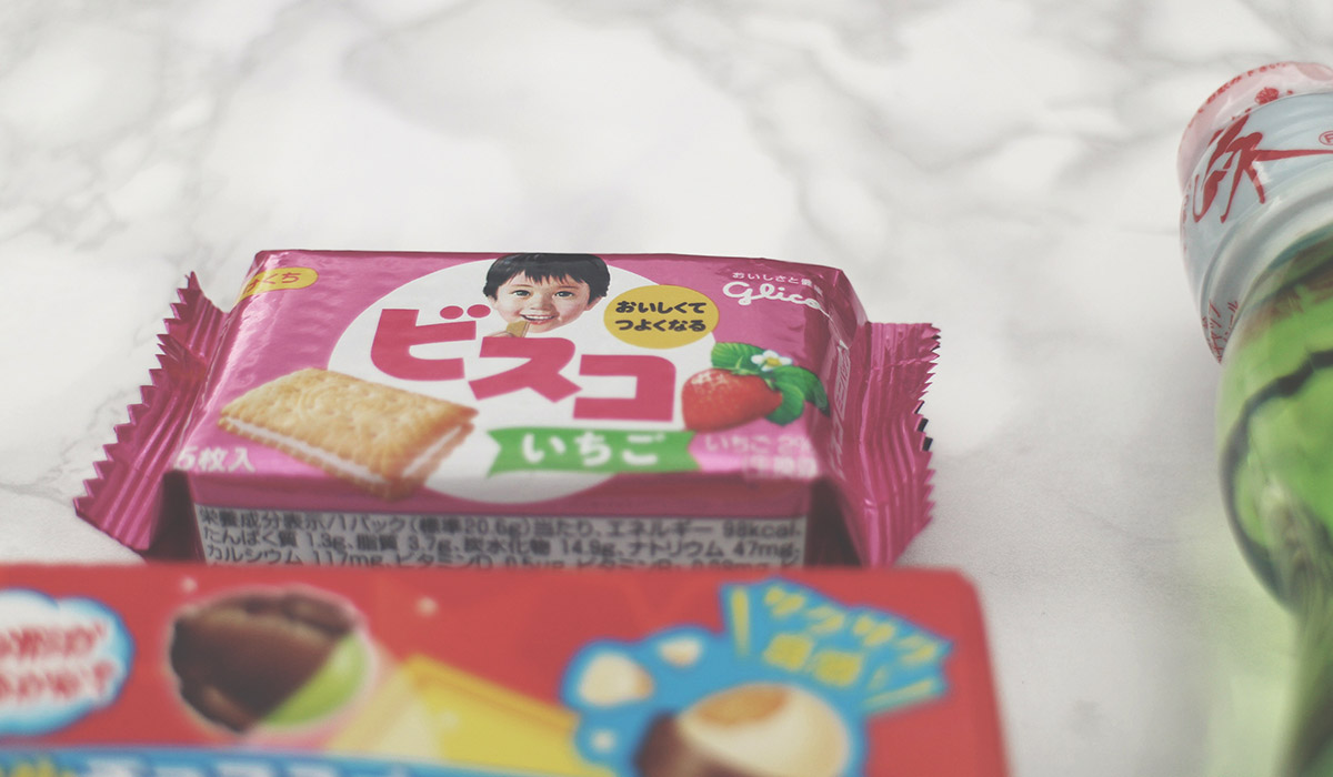 I'm Completely Obsessed with Japanese Candy - Fizzy apple drink, rainbow chocolate crispy candy and sour strawberry crackers