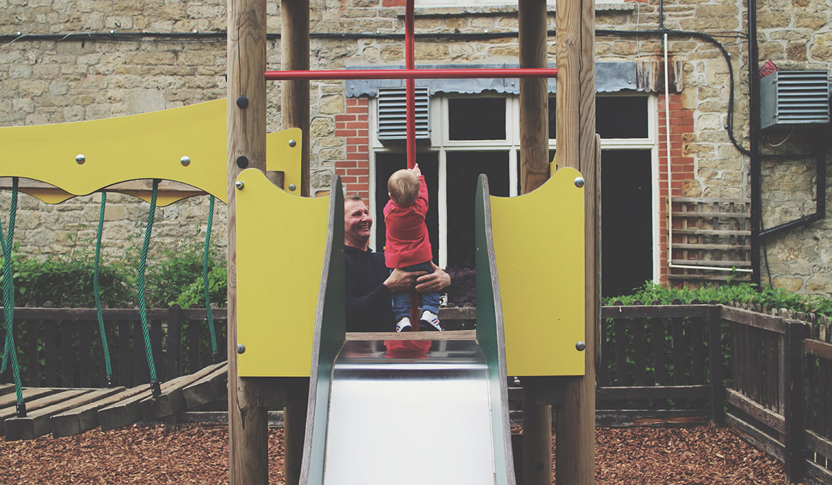 Babies & Blogging - Toddler playing with Grandad at the park