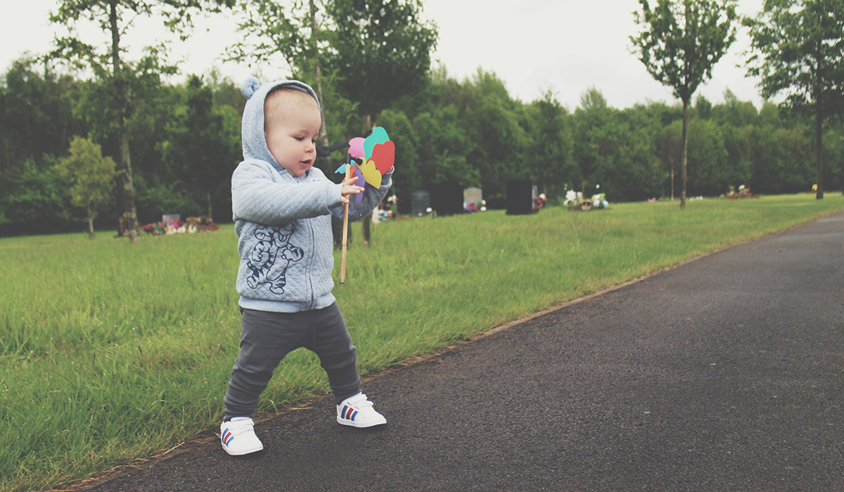 Babies & Blogging - Toddler visiting Uncle at the cemetery