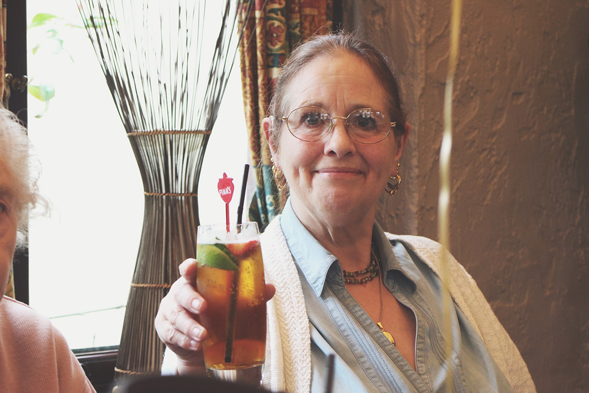 Great nanny holding Pimms at the Three Crowns, Brinkworth