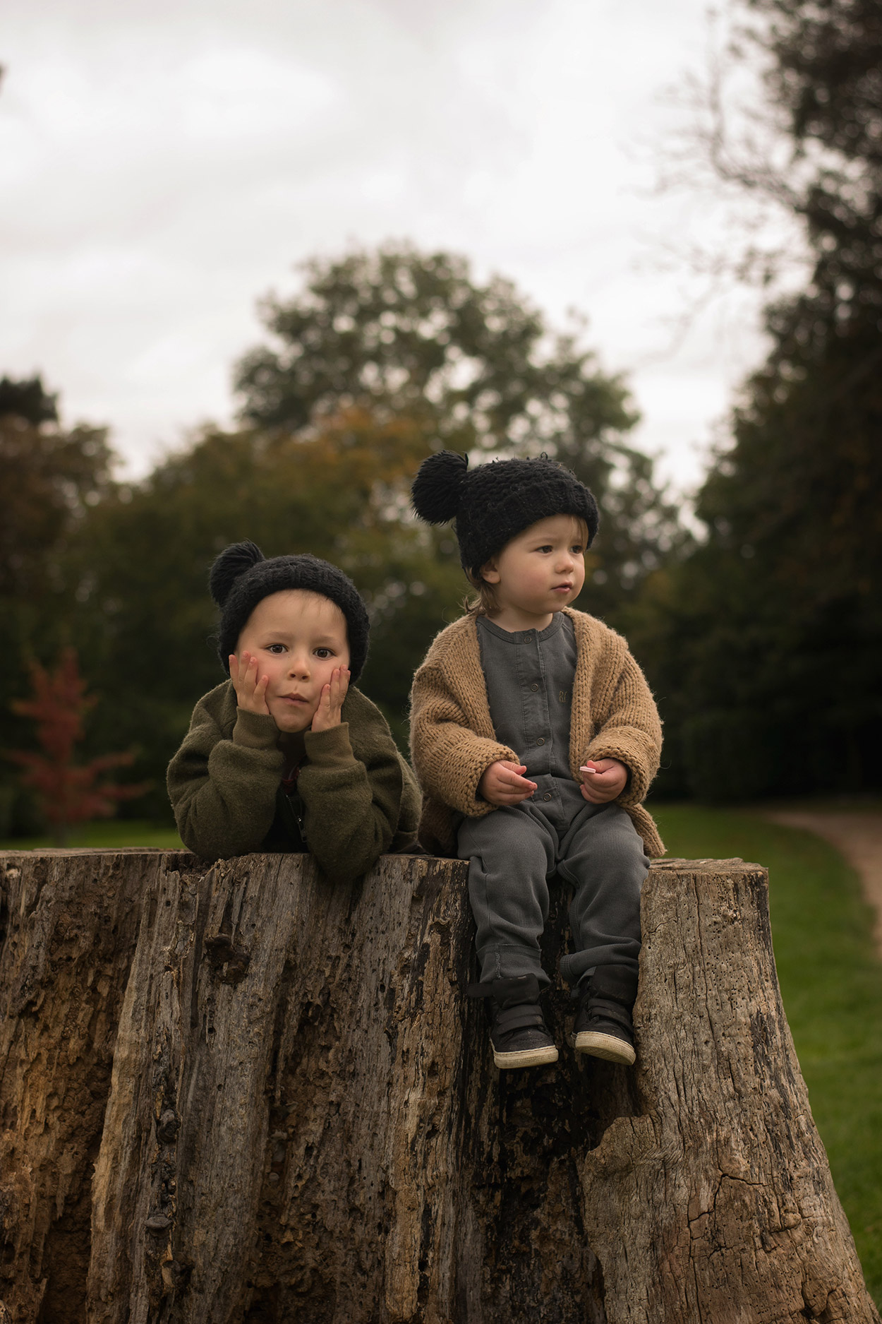 Two brothers wearing Bobo Choses and Child.ish jacket visiting Newark Park National Trust, Gloucestershire, with Nanny and Mum