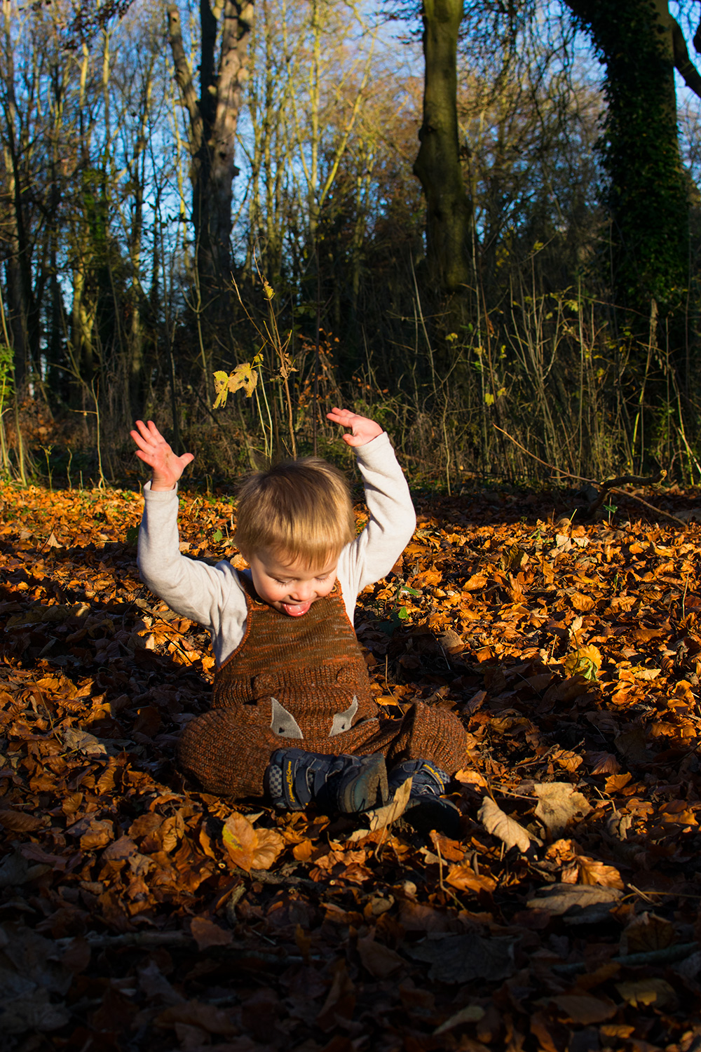 Motherhood — The Ordinary Moments #14; Toddler boy wearing Next fox vintage dungarees playing in the leaves at the park in Autumn