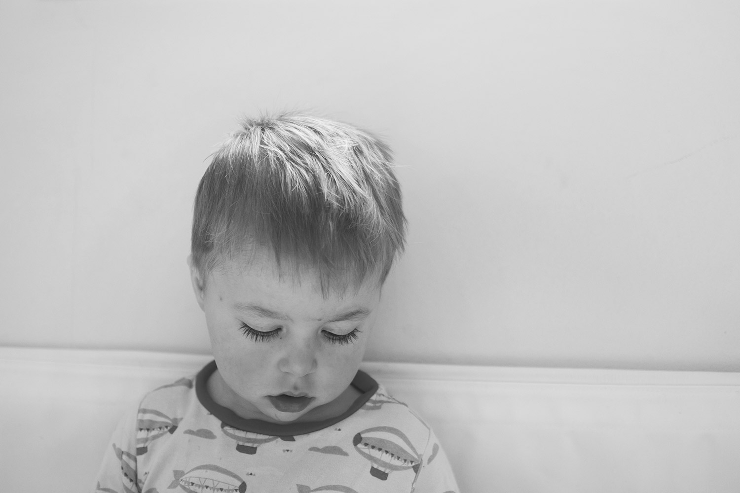 The importance of sleep (when you're not getting any) — The Ordinary Moments #19; Beautiful preschooler with long eyelashes in Little Green Radical pyjamas