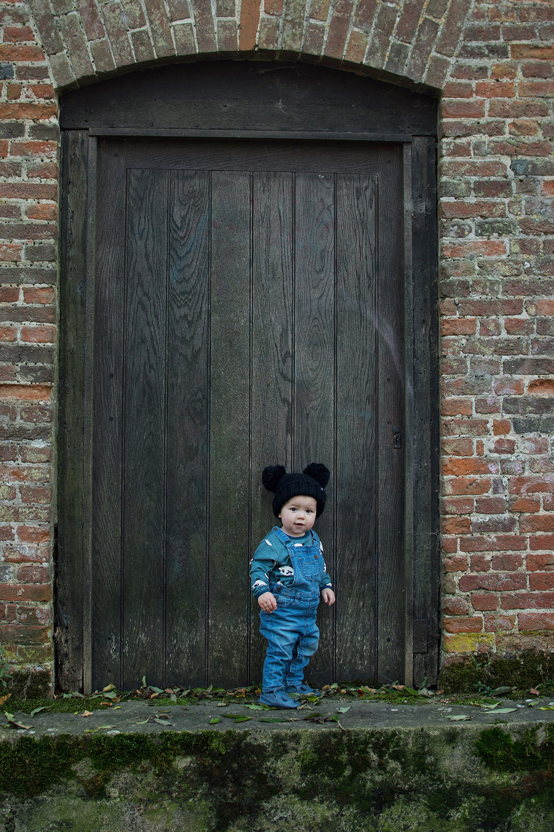 Young toddler wearing Smafolk panda t-shirt and H&M kids dungarees and Easy Peasy mouse shoes eating cupcakes in the Wiltshire woodlands for a photoshoot, collaboration with bread makers by Panasonic