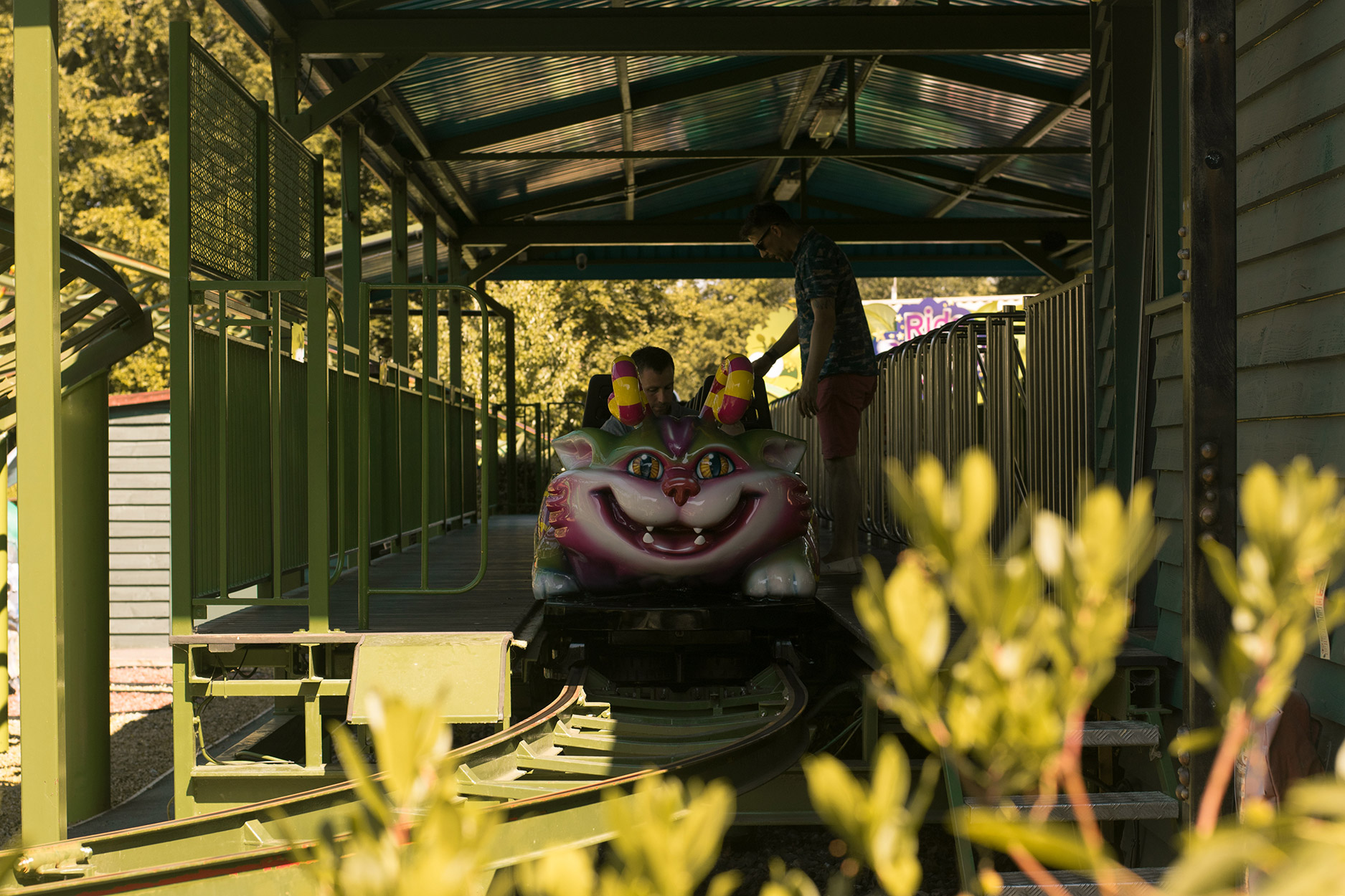 Kid's cat rollercoaster in Critter Creek - A family day out to Peppa Pig World and the Lost Kingdom at Paultons Park, Hampshire