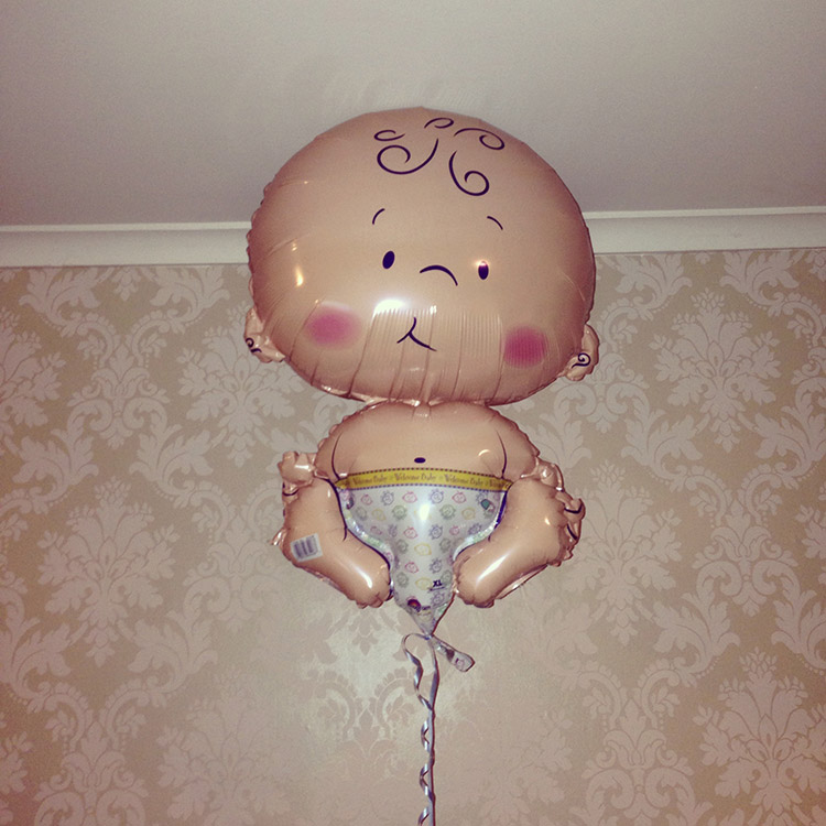 Baby shower catered by Down From Town, baby balloon
