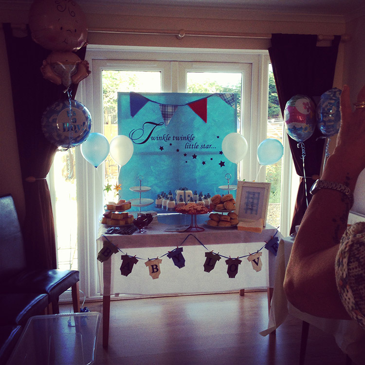 Baby shower catered by Down From Town, cakes & afternoon tea