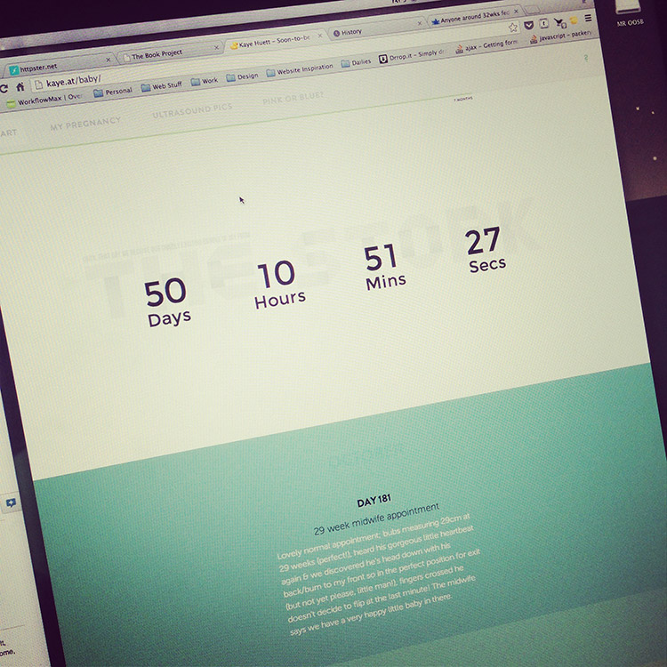 The Baby Project website, side-project counting down to my due date