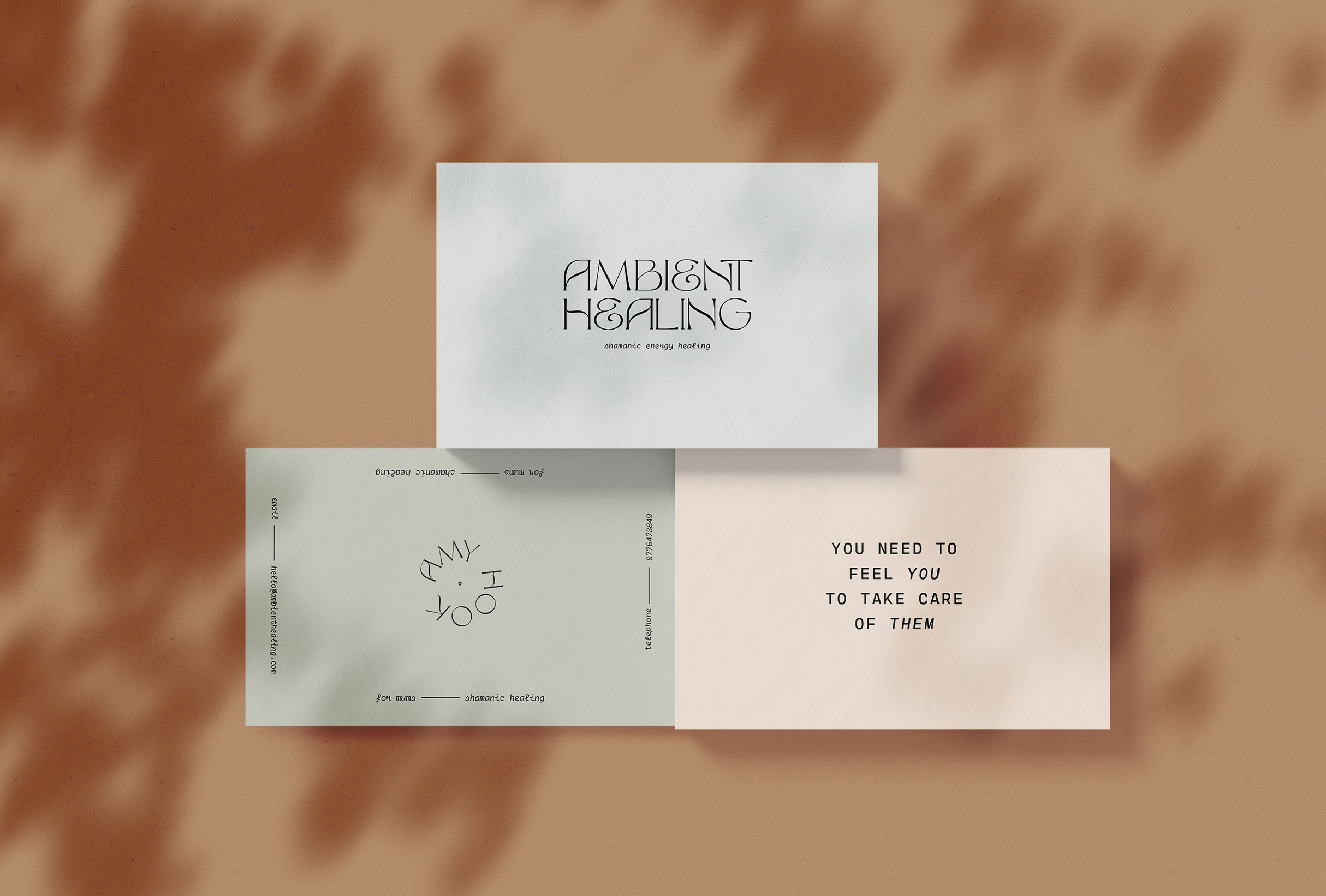 Business card concept for Ambient Healing, shamanic energy healing bringing a calm and balanced shakra to negate the stress of our daily lives and offering the tools we need to promote a positive state of mind - designed by Wiltshire-based graphic designer, Kaye Huett