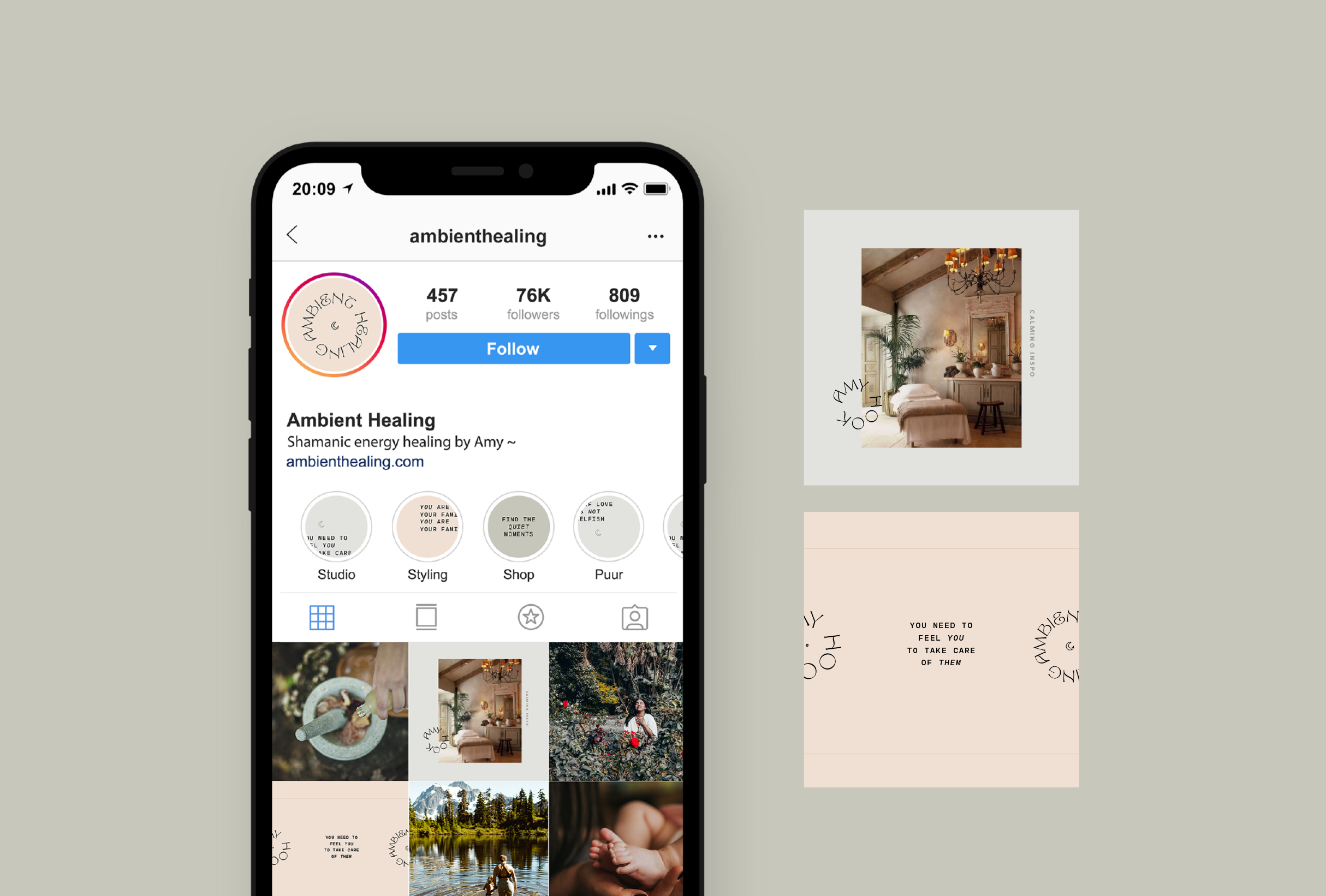 Instagram strategy for Ambient Healing, shamanic energy healing bringing a calm and balanced shakra to negate the stress of our daily lives and offering the tools we need to promote a positive state of mind - designed by Wiltshire-based graphic designer, Kaye Huett