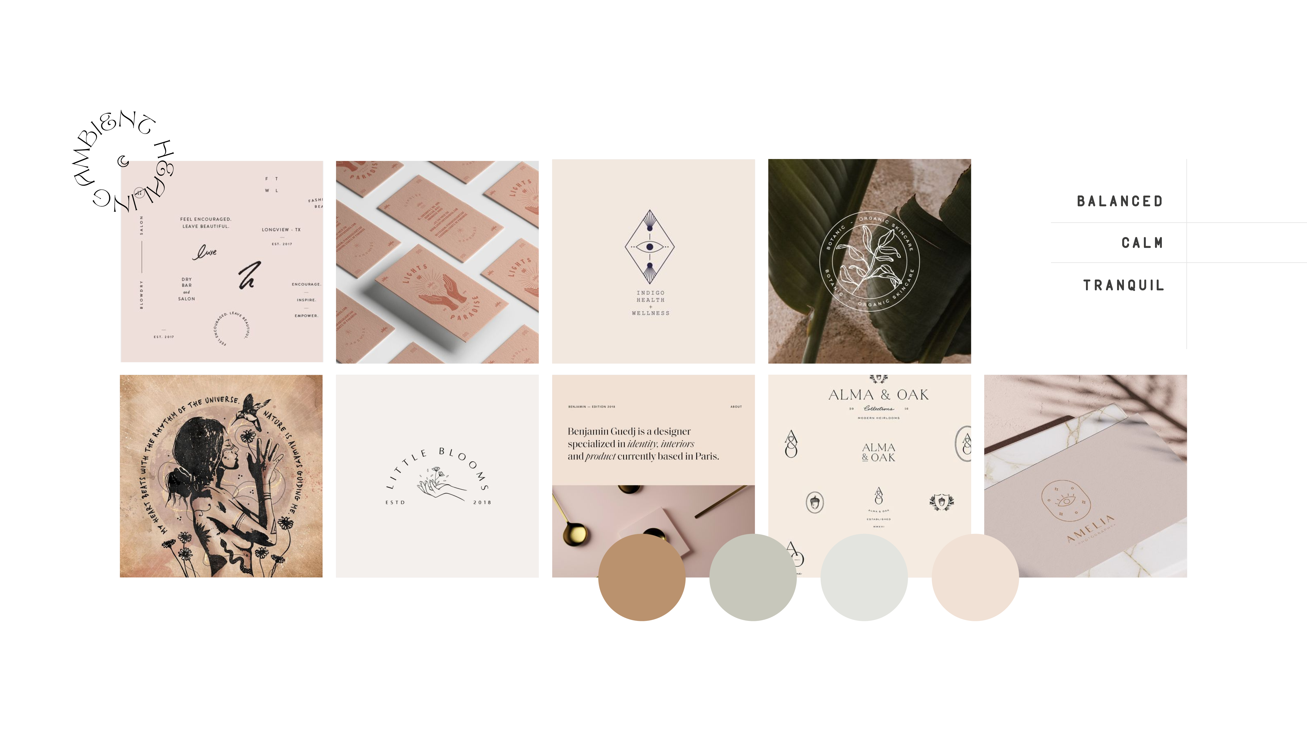 Moodboard and strategy for Ambient Healing, shamanic energy healing bringing a calm and balanced shakra to negate the stress of our daily lives and offering the tools we need to promote a positive state of mind - designed by Wiltshire-based graphic designer, Kaye Huett