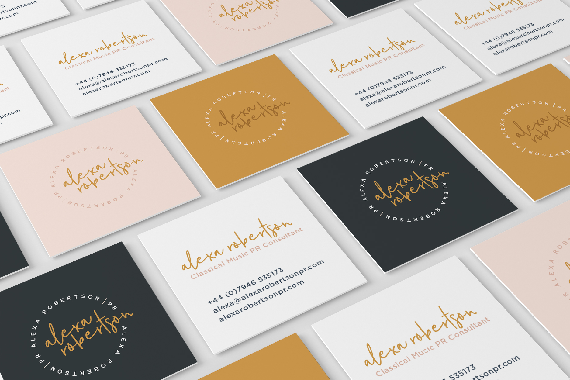 Square business cards with a variation of designs for Alexa Robertson, freelance PR specialising in the classical music industry - Designed by Wiltshire-based graphic designer, Kaye Huett