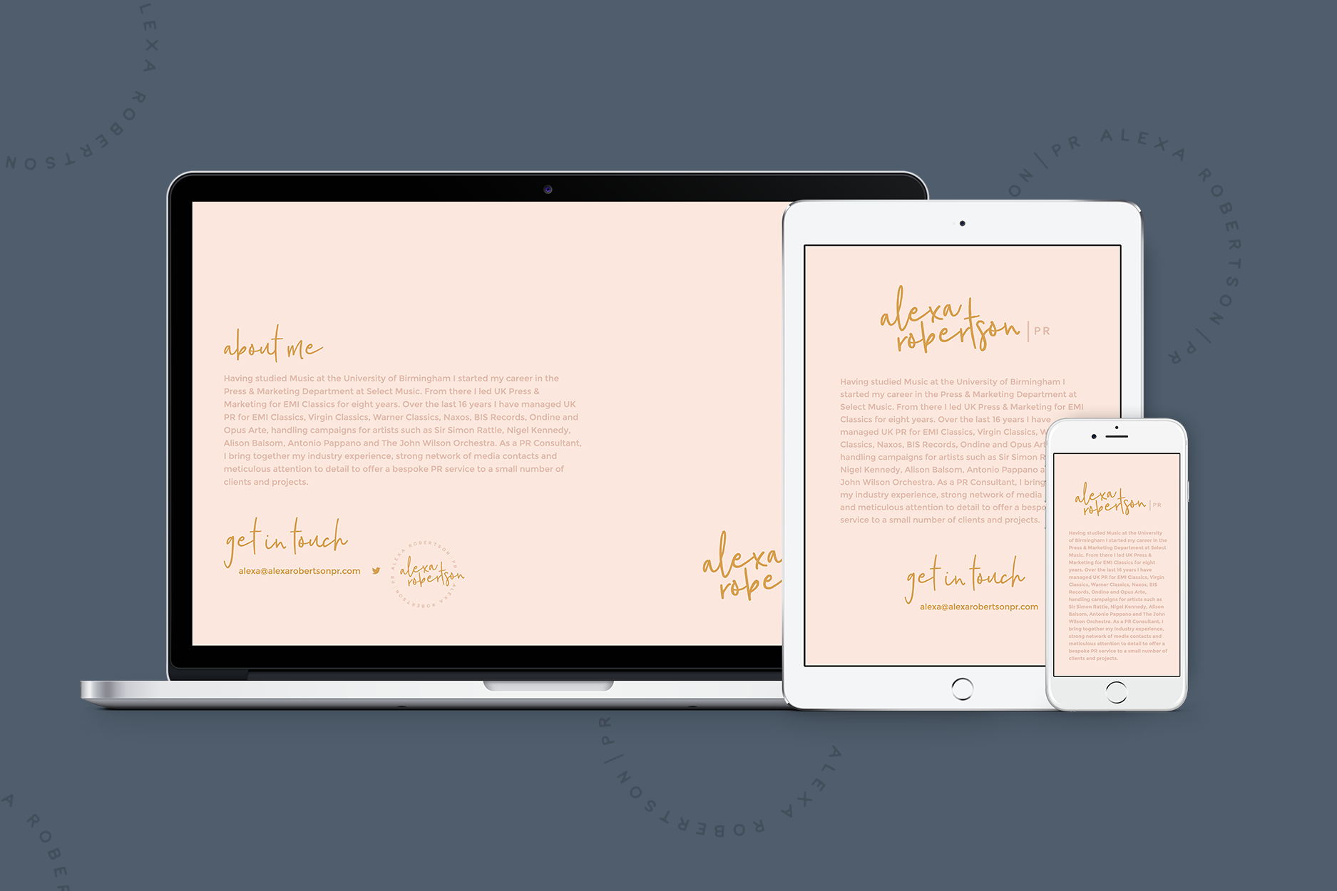 Responsive temporary landing page for Alexa Robertson, freelance PR specialising in the classical music industry - Designed by Wiltshire-based graphic designer, Kaye Huett