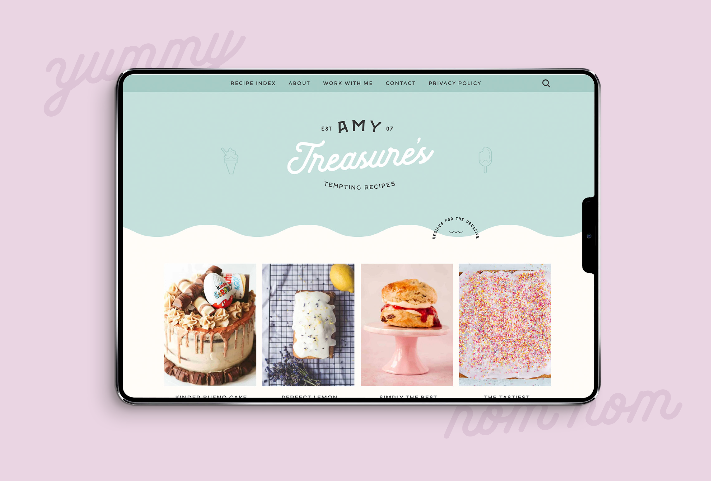 Twitter design for Amy Treasure, providing simple yet delicious dessert recipes - designed by Wiltshire-based graphic designer, Kaye Huett