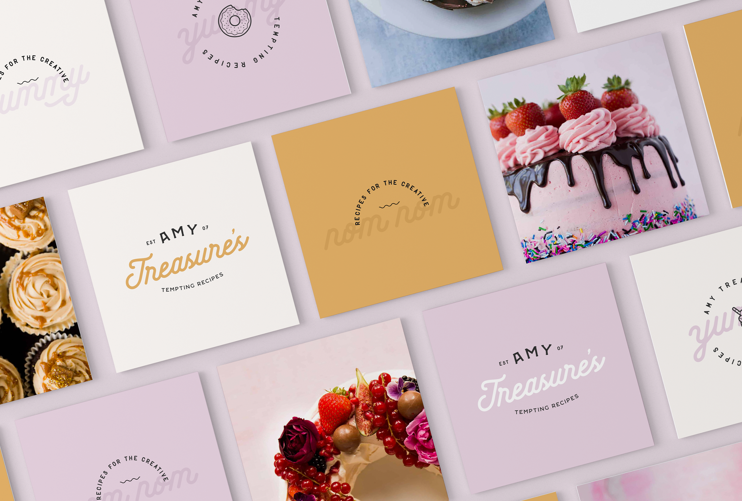 Business card design for Amy Treasure, providing simple yet delicious dessert recipes - designed by Wiltshire-based graphic designer, Kaye Huett
