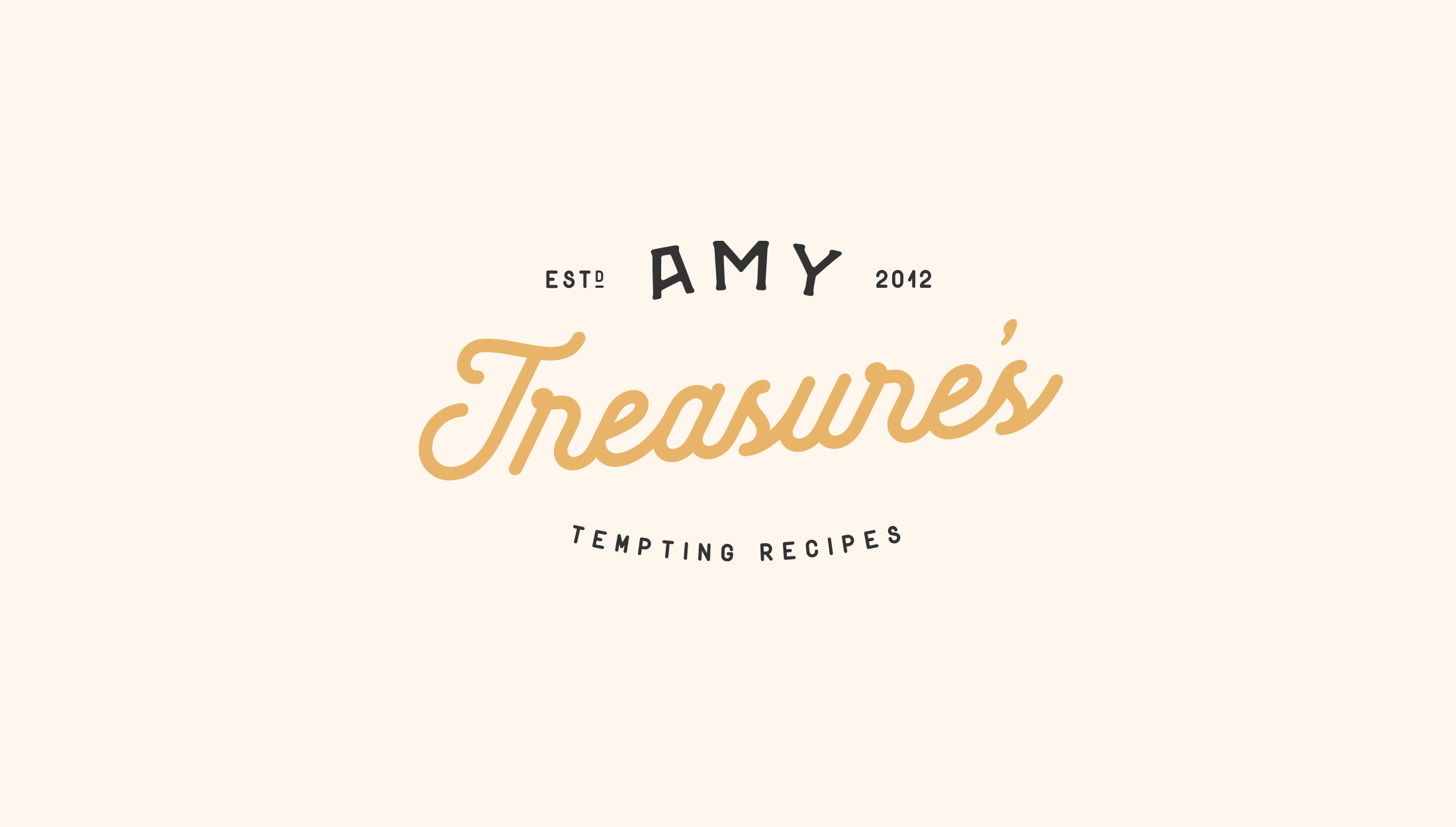 Detailed Logo design for Amy Treasure, providing simple yet delicious dessert recipes - designed by Wiltshire-based graphic designer, Kaye Huett