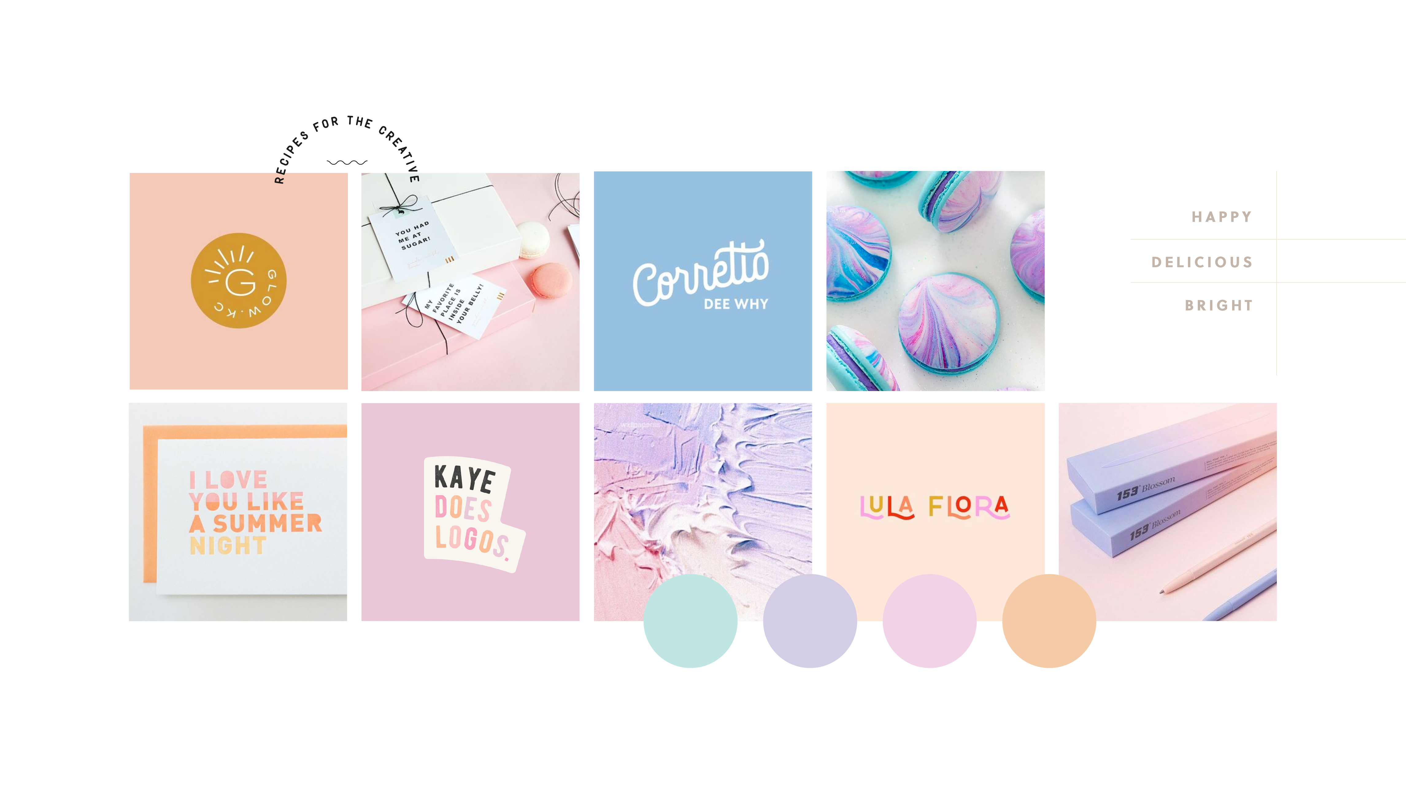 Moodboard for Amy Treasure, providing simple yet delicious dessert recipes - designed by Wiltshire-based graphic designer, Kaye Huett