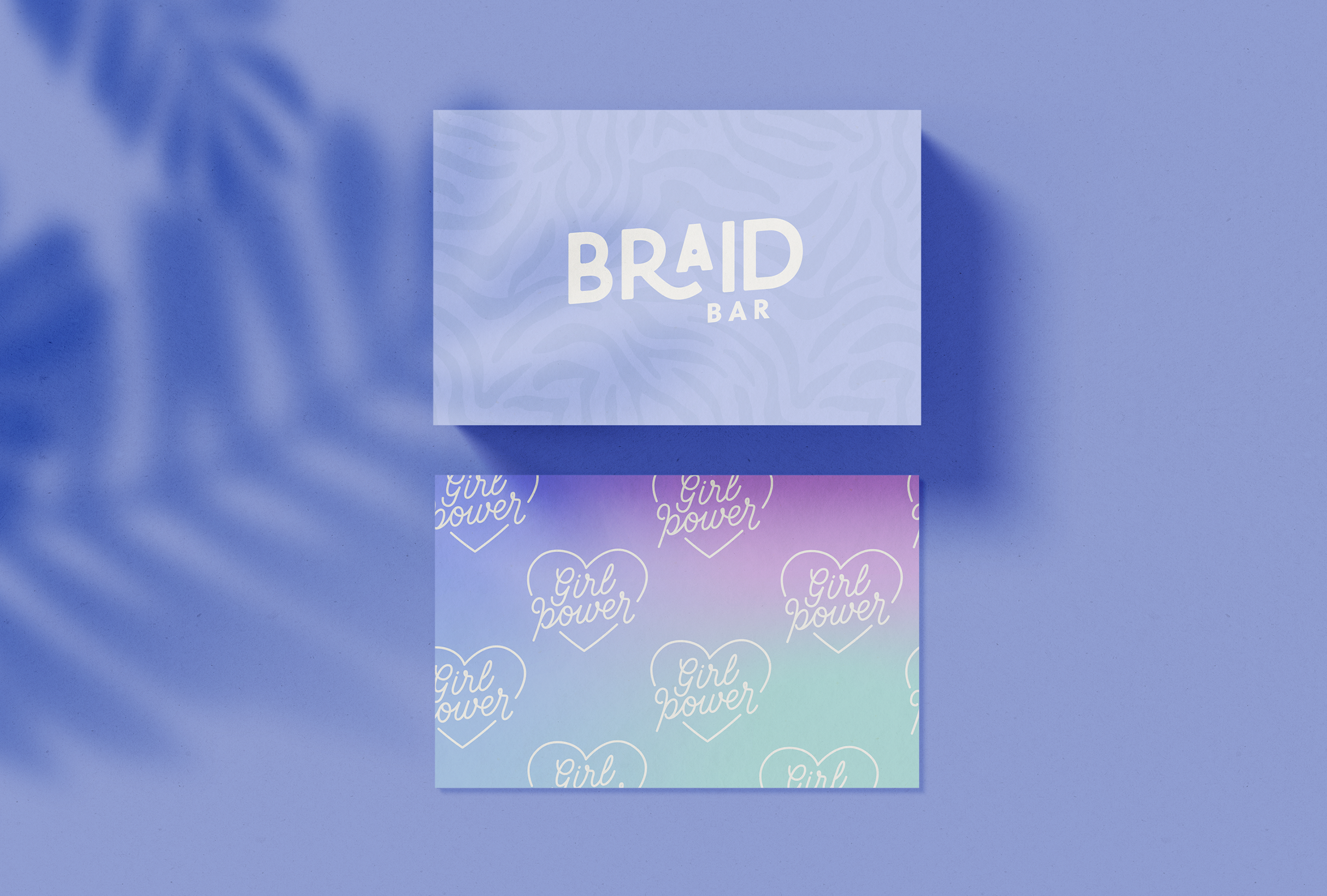Business card design for Braid Bar, providing a premium experience and high-quality braiding services - designed by Wiltshire-based graphic designer, Kaye Huett