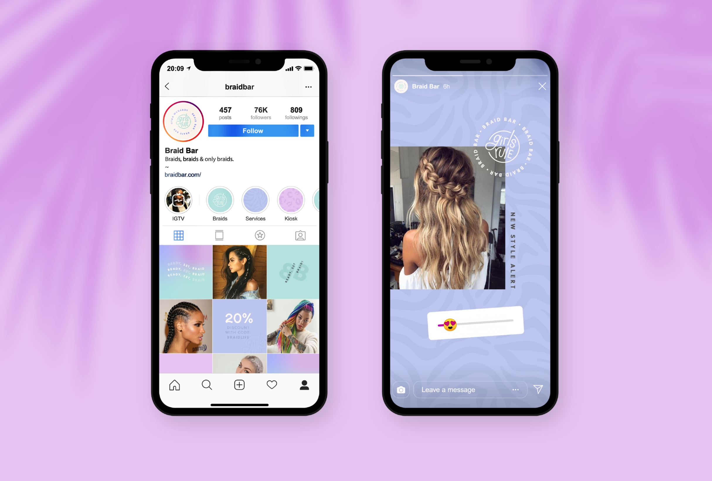 Instagram profile for Braid Bar, providing a premium experience and high-quality braiding services - designed by Wiltshire-based graphic designer, Kaye Huett