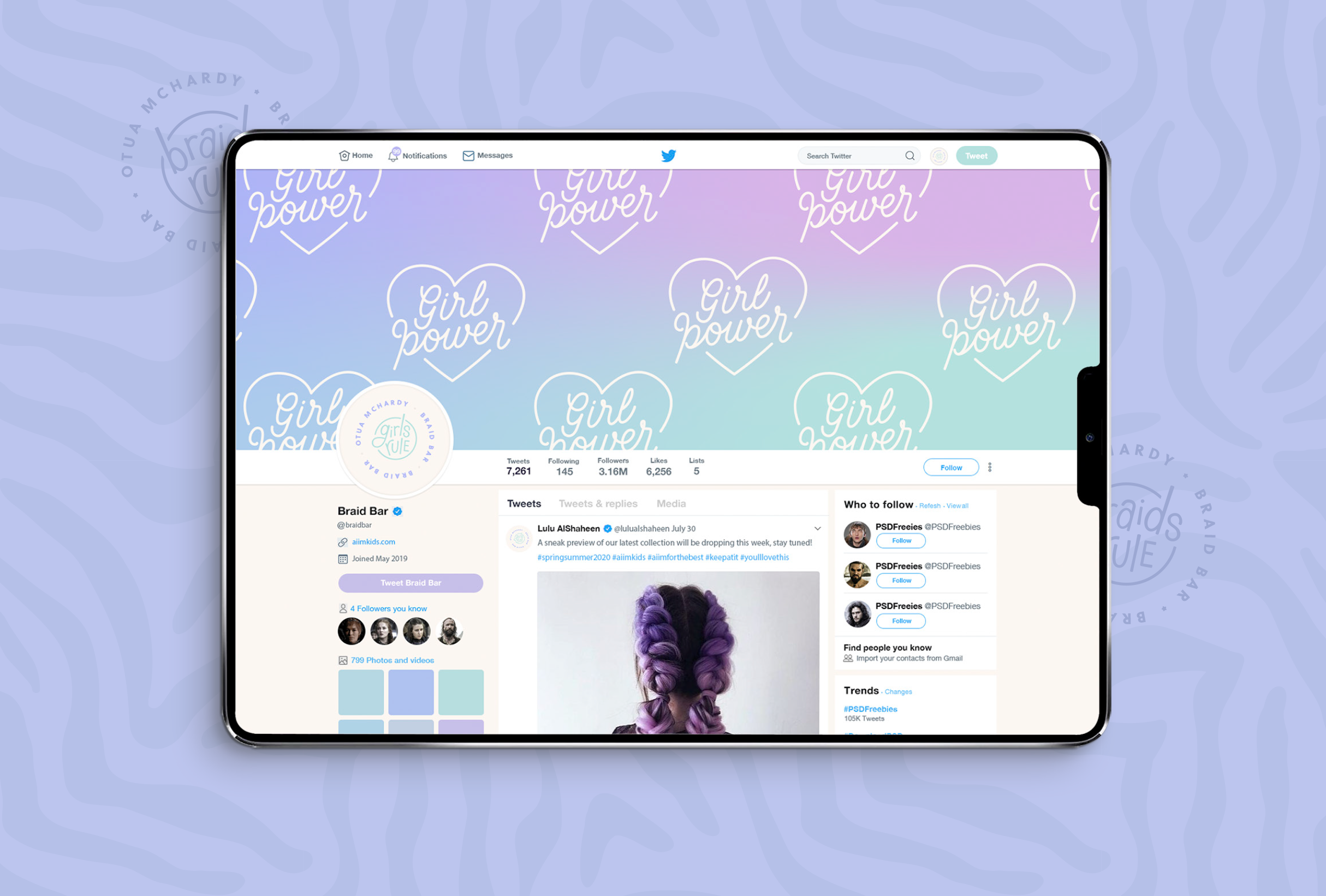 Twitter profile for Braid Bar, providing a premium experience and high-quality braiding services - designed by Wiltshire-based graphic designer, Kaye Huett