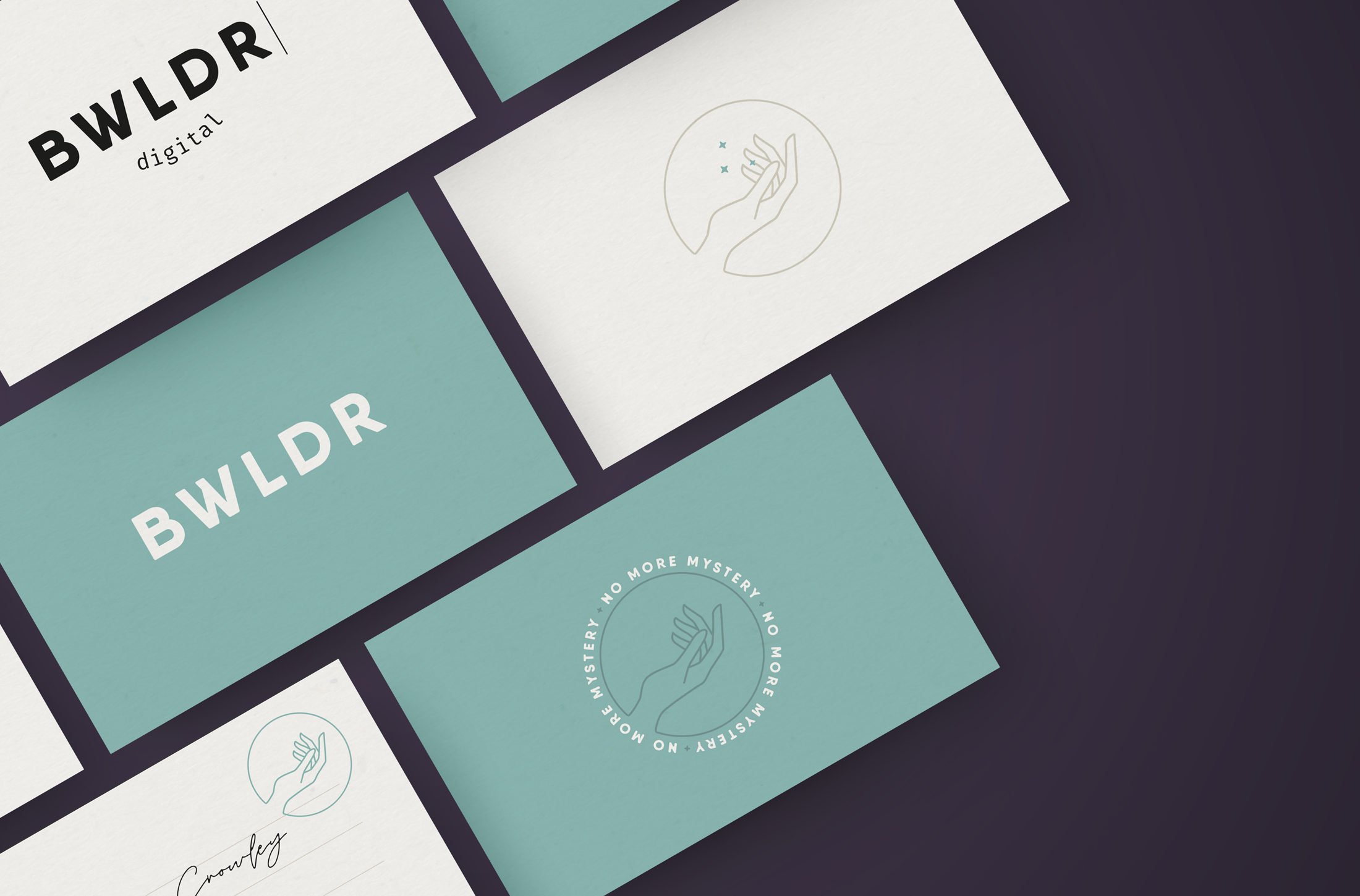 Business card design for Bwldr Digital, a marketing agency that focuses on helping small businesses in the local community and donates a percentage of proceeds to charity - designed by Wiltshire-based graphic designer, Kaye Huett