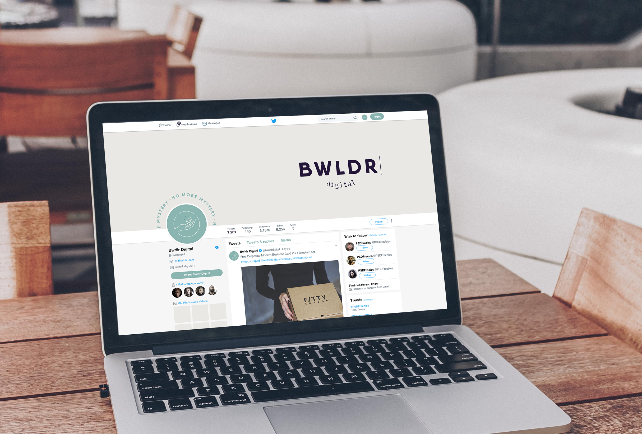 Twitter profile design for Bwldr Digital, a marketing agency that focuses on helping small businesses in the local community and donates a percentage of proceeds to charity - designed by Wiltshire-based graphic designer, Kaye Huett