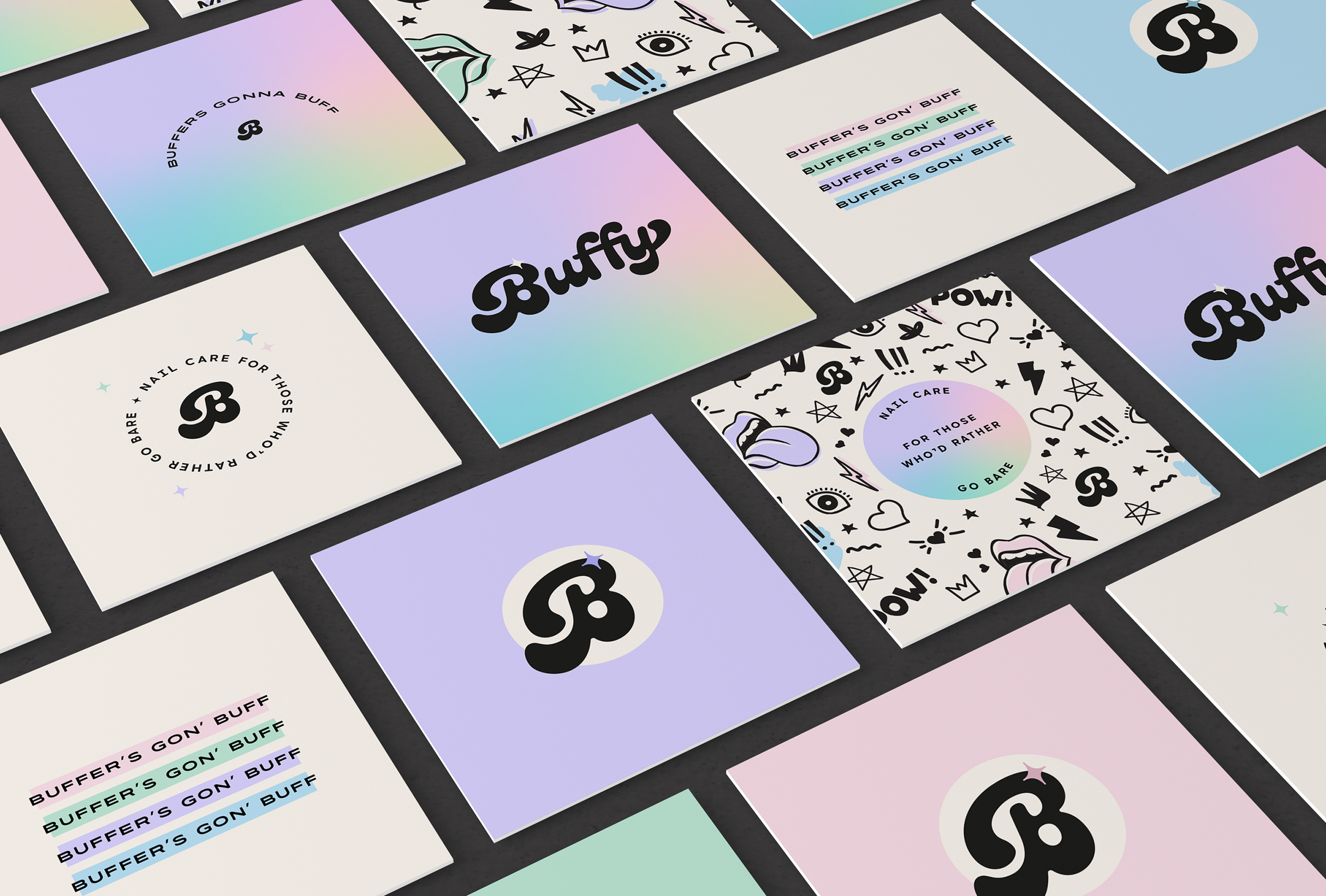 Business card design for Buffy, a luxury nail buffer that offers a natural shine and manicure without the need for varnish - designed by Wiltshire-based graphic designer, Kaye Huett