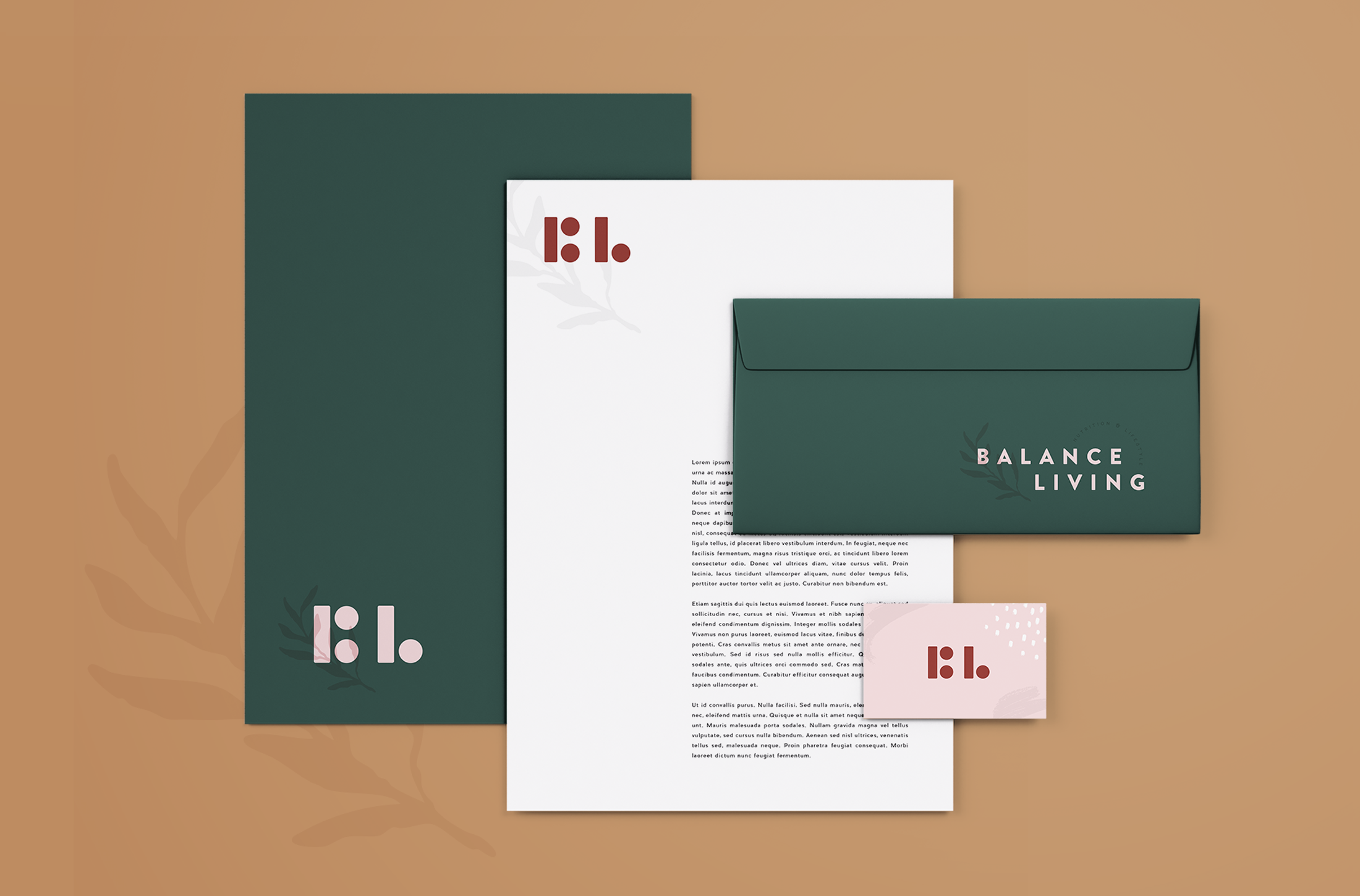 Stationery design for Balance Living, nutrition and lifestyle coaching - designed by Wiltshire-based graphic designer, Kaye Huett