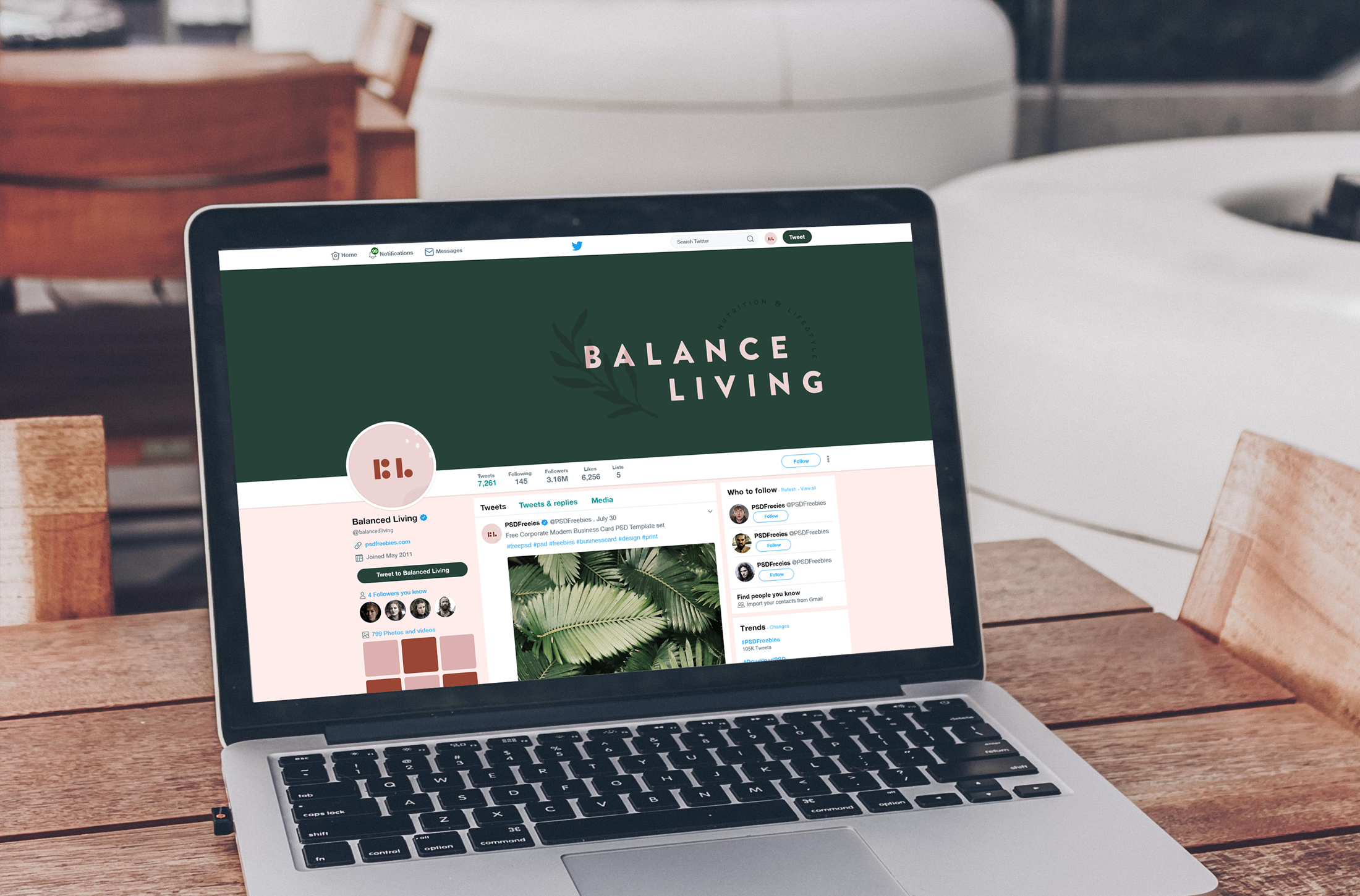Twitter profile for Balance Living, nutrition and lifestyle coaching - designed by Wiltshire-based graphic designer, Kaye Huett