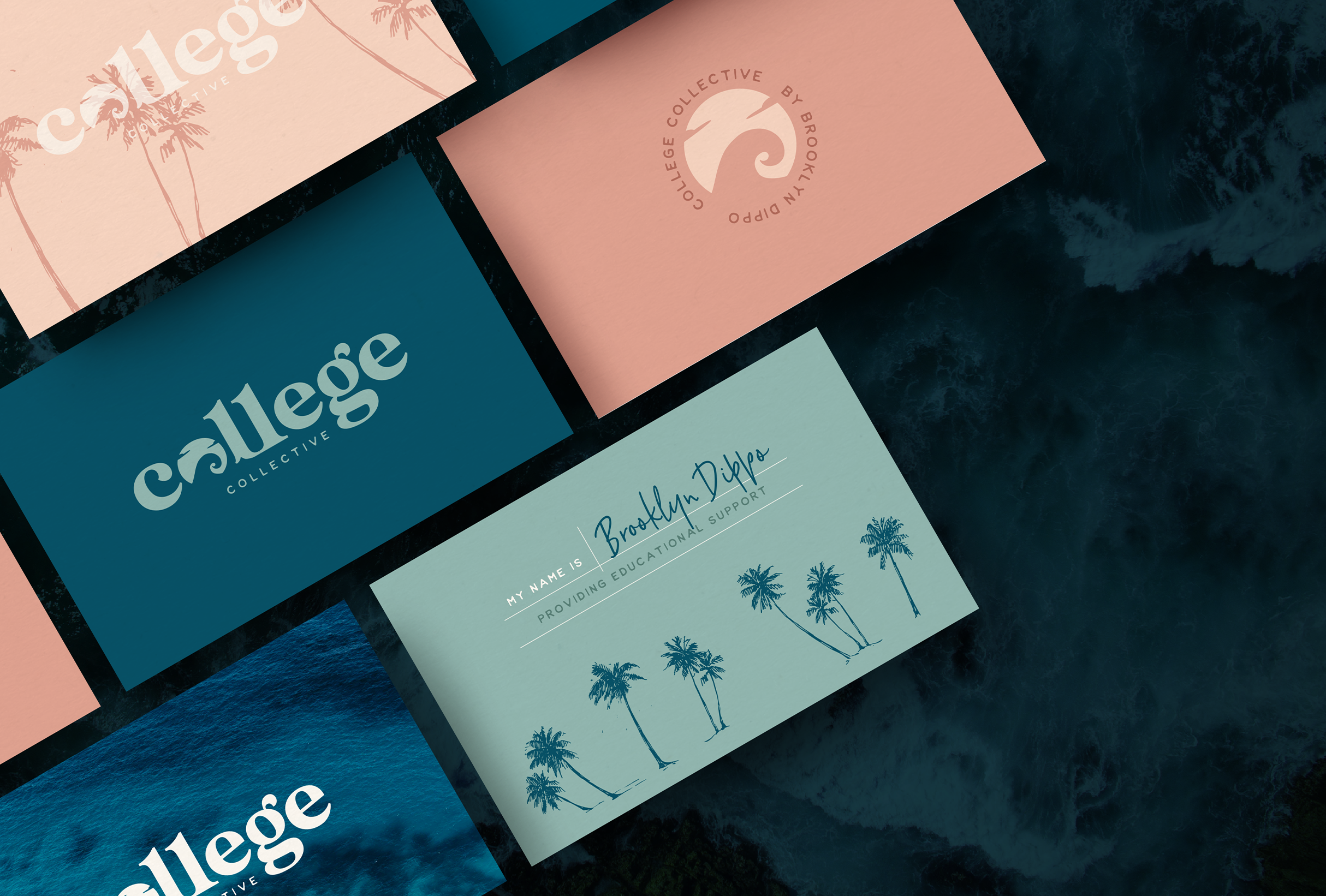 Business card design for College Collective, The College Collective membership gives students a step-by-step plan for applying to college with the support of a community full of other educational professionals and peers - designed by Wiltshire-based graphic designer, Kaye Huett