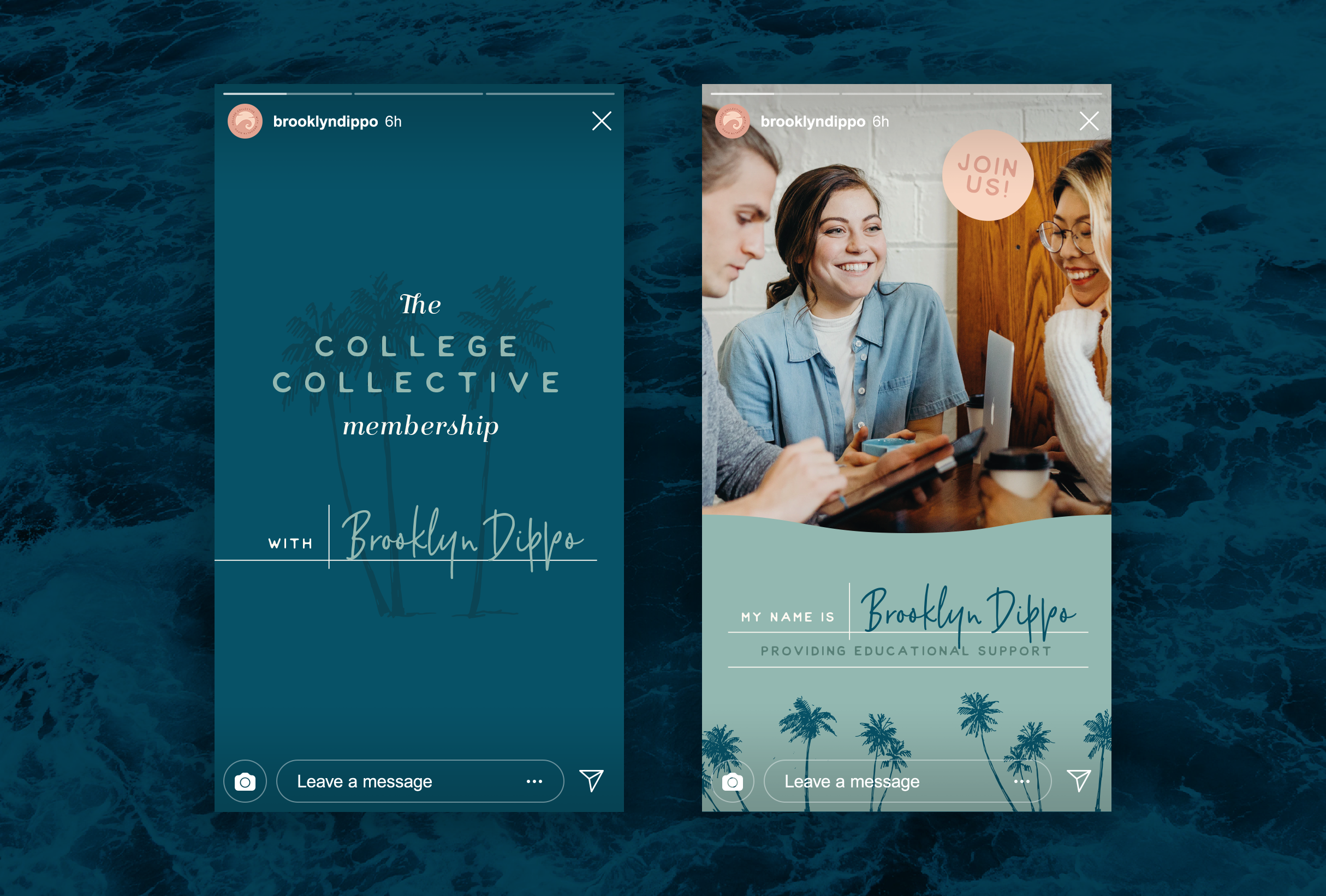 Instagram stories for College Collective, The College Collective membership gives students a step-by-step plan for applying to college with the support of a community full of other educational professionals and peers - designed by Wiltshire-based graphic designer, Kaye Huett