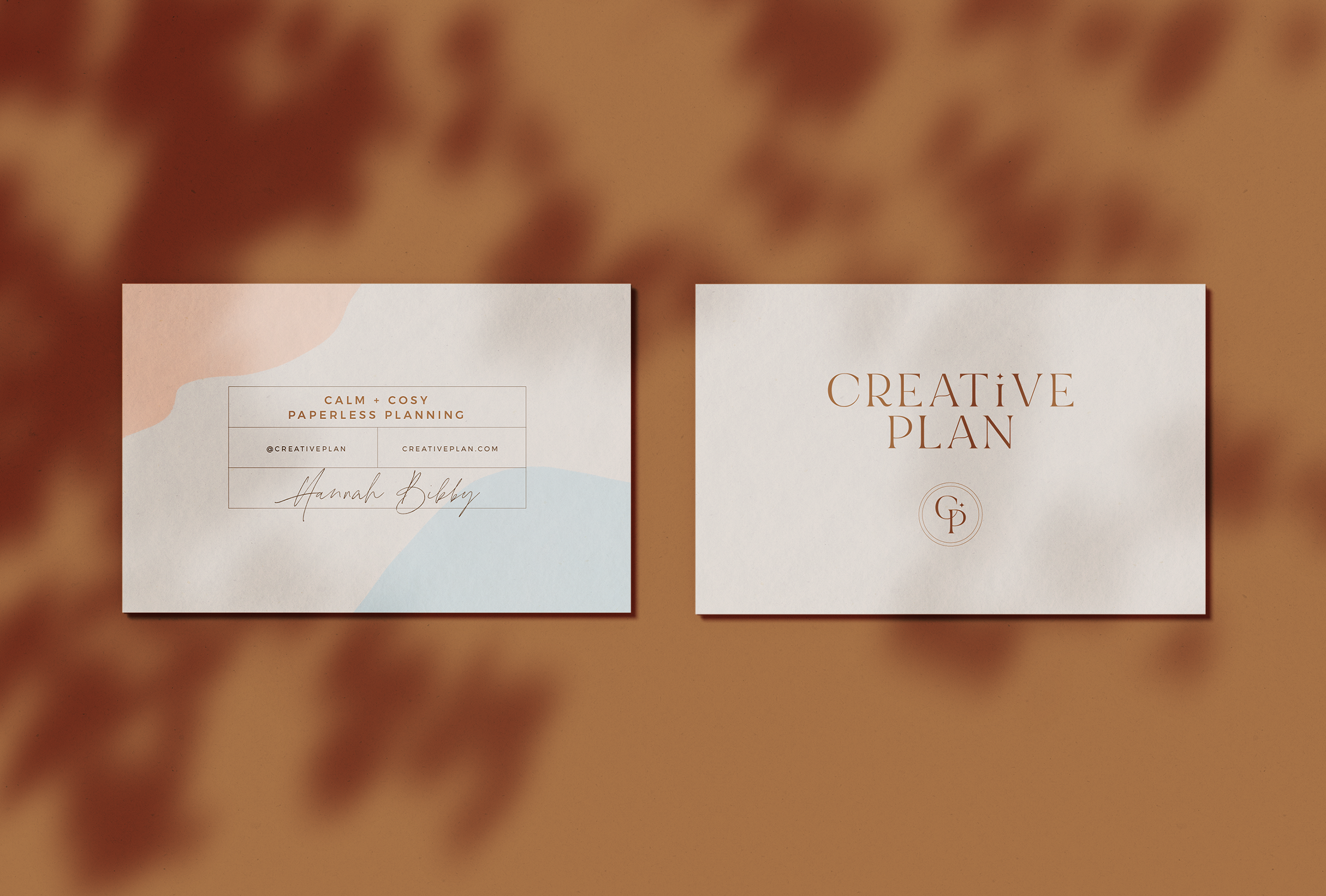 Business cards for Creative Plan, providing paperless planning products with an analogue feel - designed by Wiltshire-based graphic designer, Kaye Huett