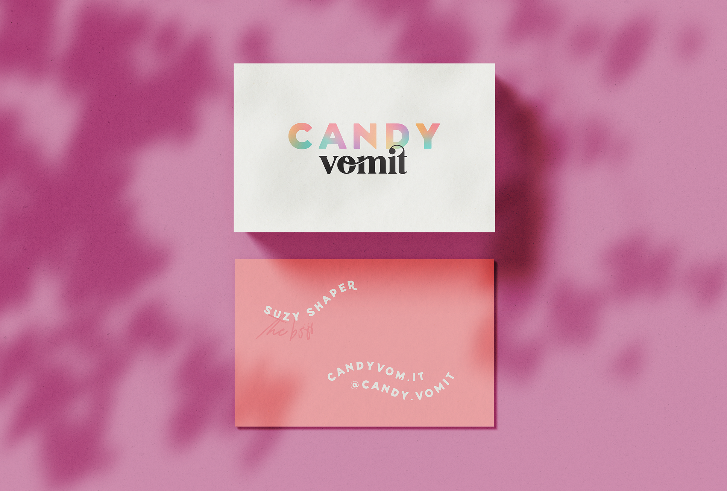 Business cards for Candy Vomit, a conceptual hair dye brand that specialises in sickly-sweet colours - designed by Wiltshire-based graphic designer, Kaye Huett