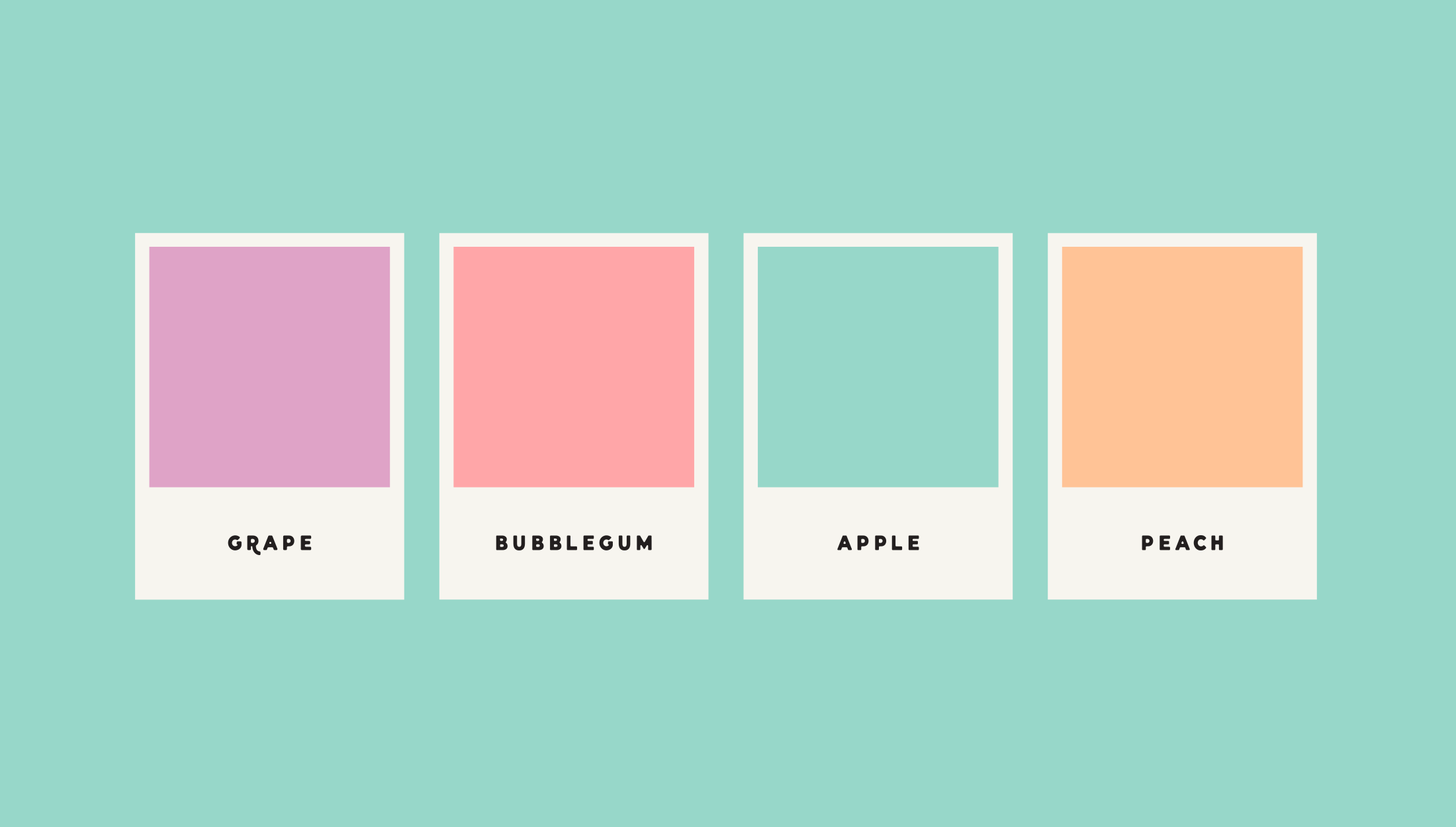 Colour palette mock-up for Candy Vomit, a conceptual hair dye brand that specialises in sickly-sweet colours - designed by Wiltshire-based graphic designer, Kaye Huett