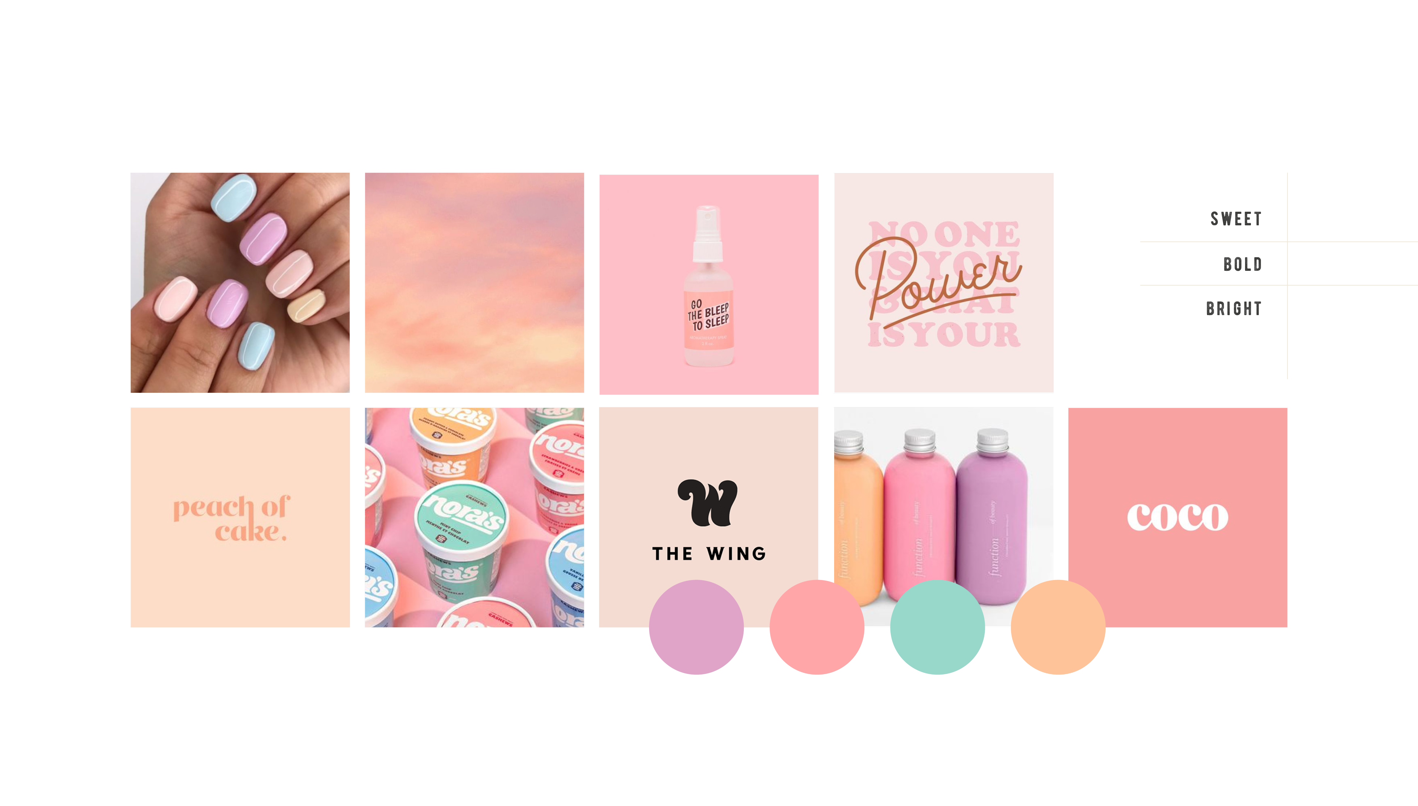 Moodboard for Candy Vomit, a conceptual hair dye brand that specialises in sickly-sweet colours - designed by Wiltshire-based graphic designer, Kaye Huett