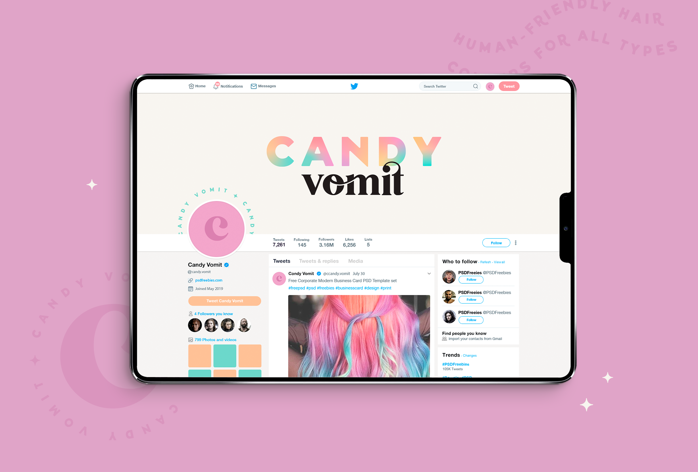 Twitter design mock-up for Candy Vomit, a conceptual hair dye brand that specialises in sickly-sweet colours - designed by Wiltshire-based graphic designer, Kaye Huett