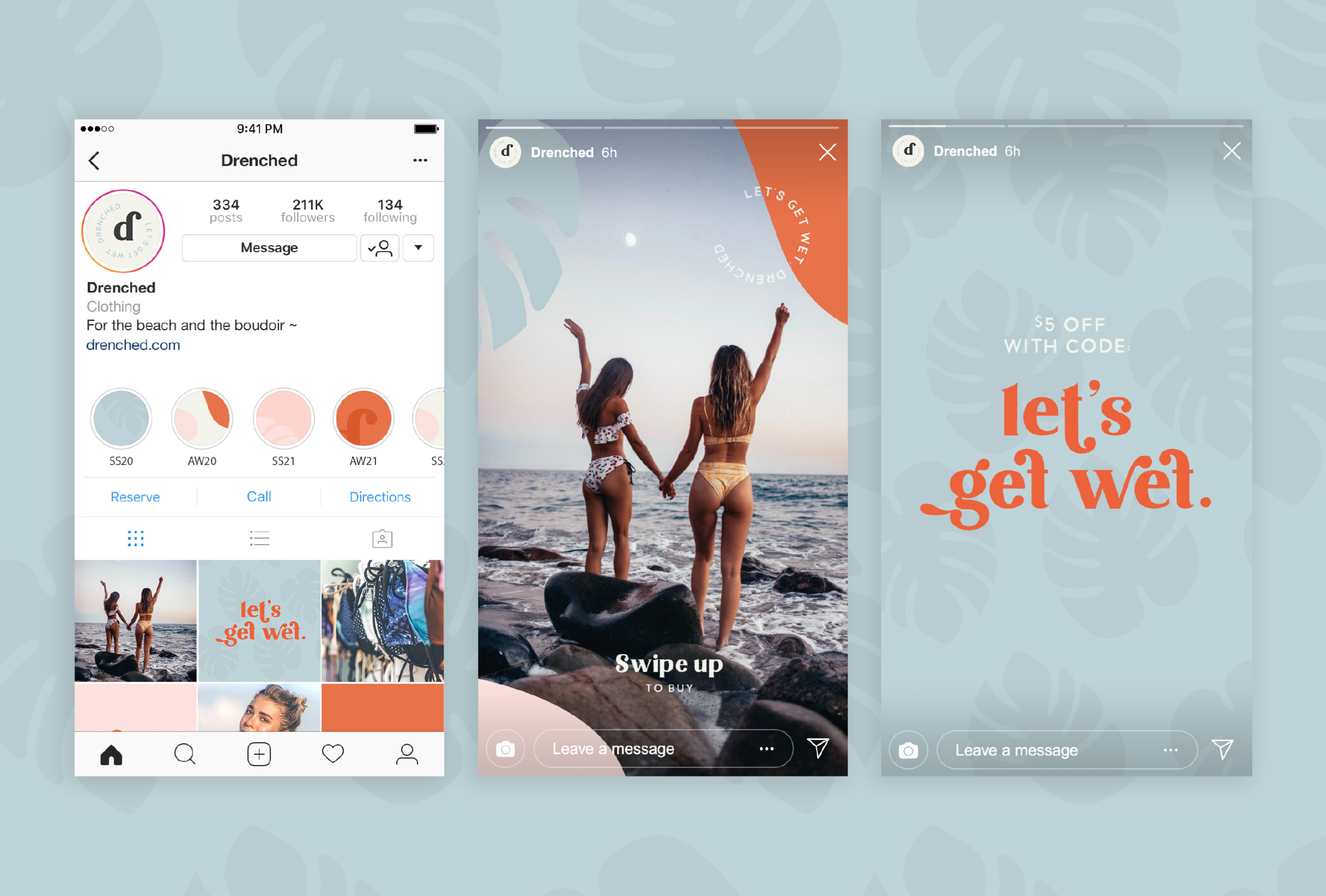 Instagram mock-up for Drenched, selling luxury products that are essential for water-based needs - designed by Wiltshire-based graphic designer, Kaye Huett
