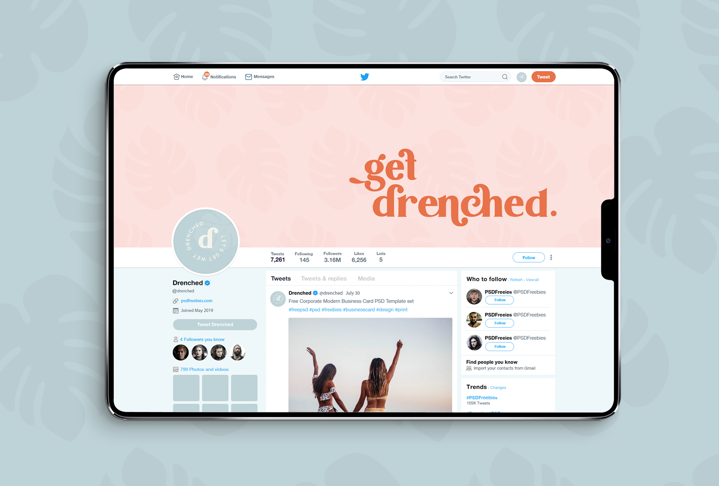 Twitter design for Drenched, selling luxury products that are essential for water-based needs - designed by Wiltshire-based graphic designer, Kaye Huett