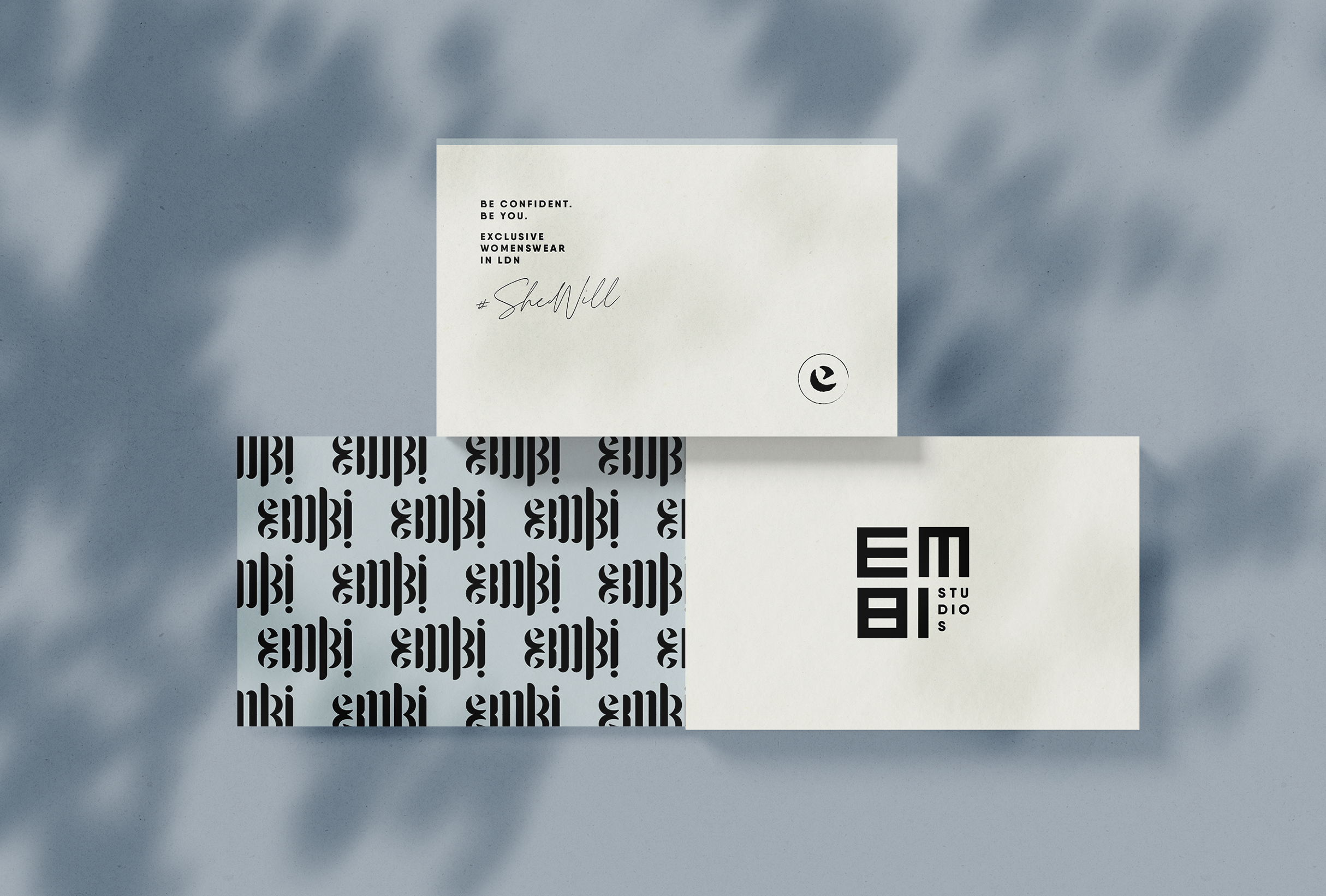 Business card design for Embi Studios, London-based clothing line offering unique items and limited edition seasons - designed by Wiltshire-based graphic designer, Kaye Huett