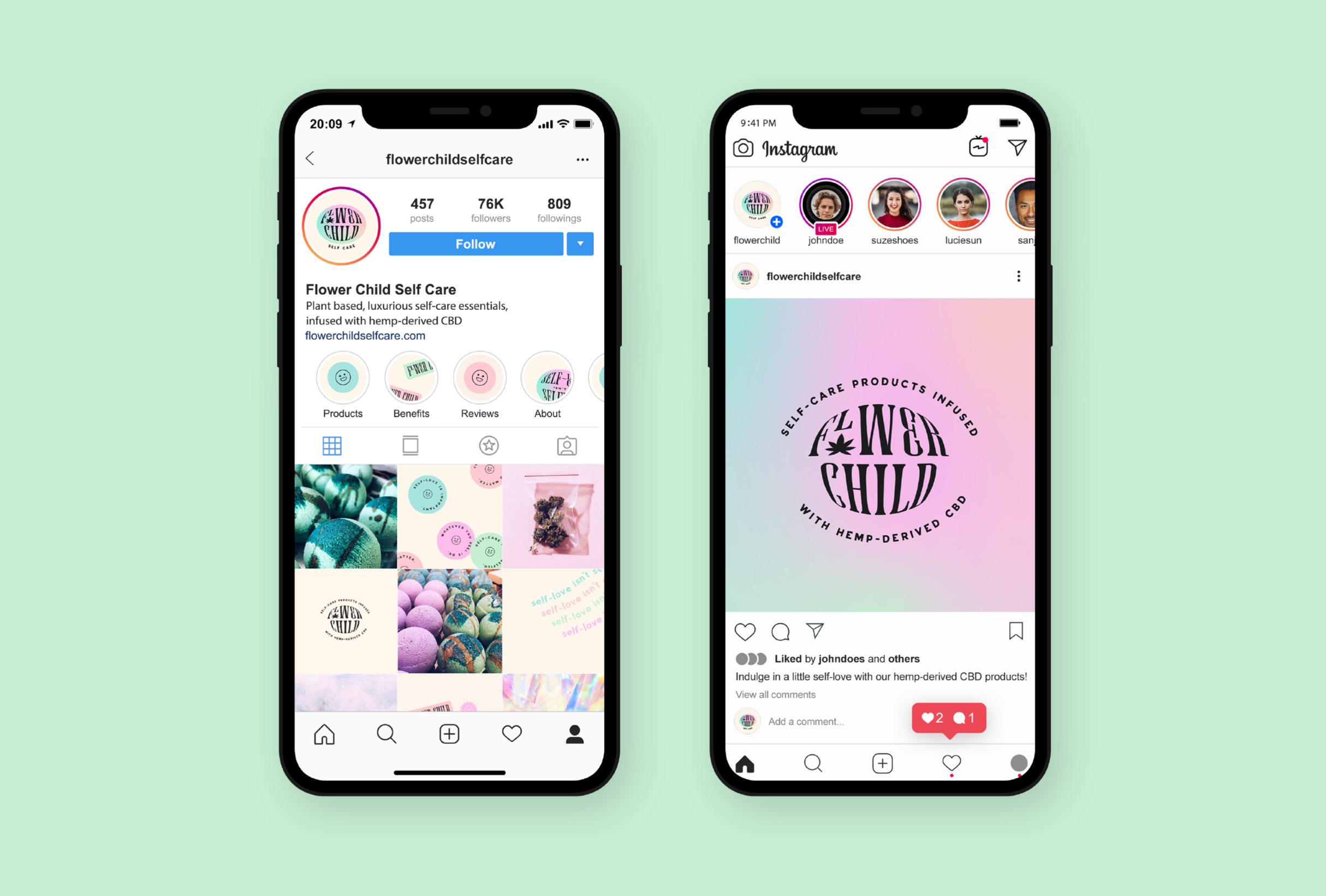 Instagram strategy for Flower Child, a skincare line specialising in plant based, luxurious self-care essentials, infused with hemp-derived CBD - designed by Wiltshire-based graphic designer, Kaye Huett