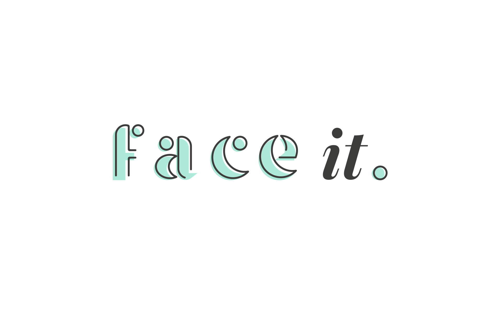 Final logo design for 'face it', a face and body rehydrating moisturiser - Designed by Wiltshire-based graphic designer, Kaye Huett