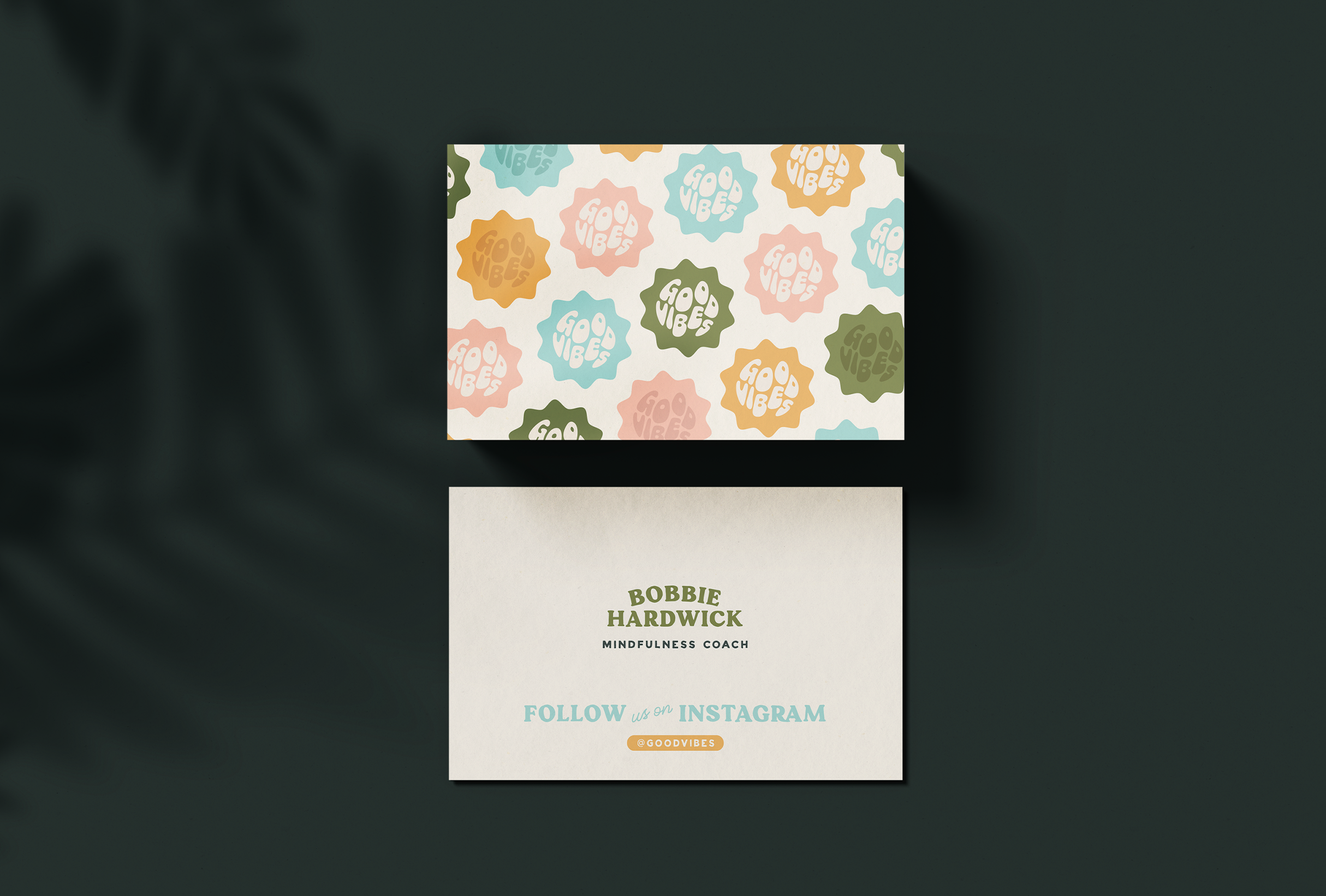 Business card design for Bobbie at Good Vibes, a mindfulness & coaching business for women within the creative & tech industries - designed by Wiltshire-based graphic designer, Kaye Huett